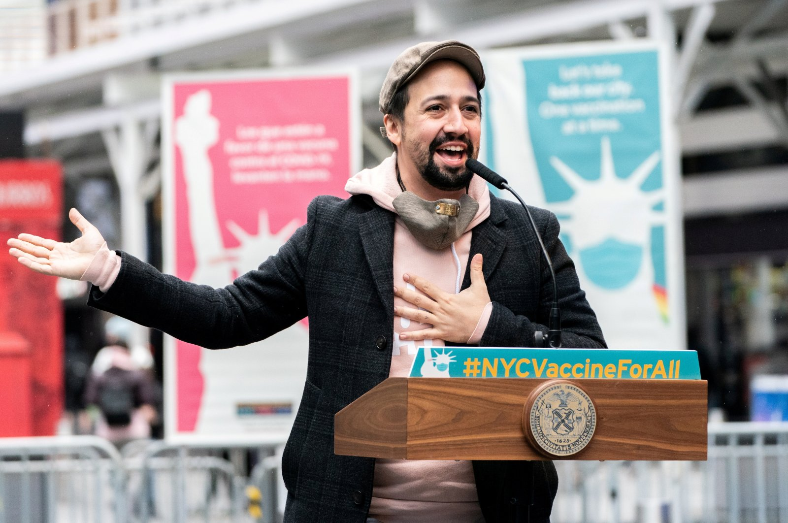 Actor Lin-Manuel Miranda speaks at the opening of the Broadway vaccination site amid the COVID-19 pandemic in New York City, U.S., April 12, 2021. (Reuters Photo)