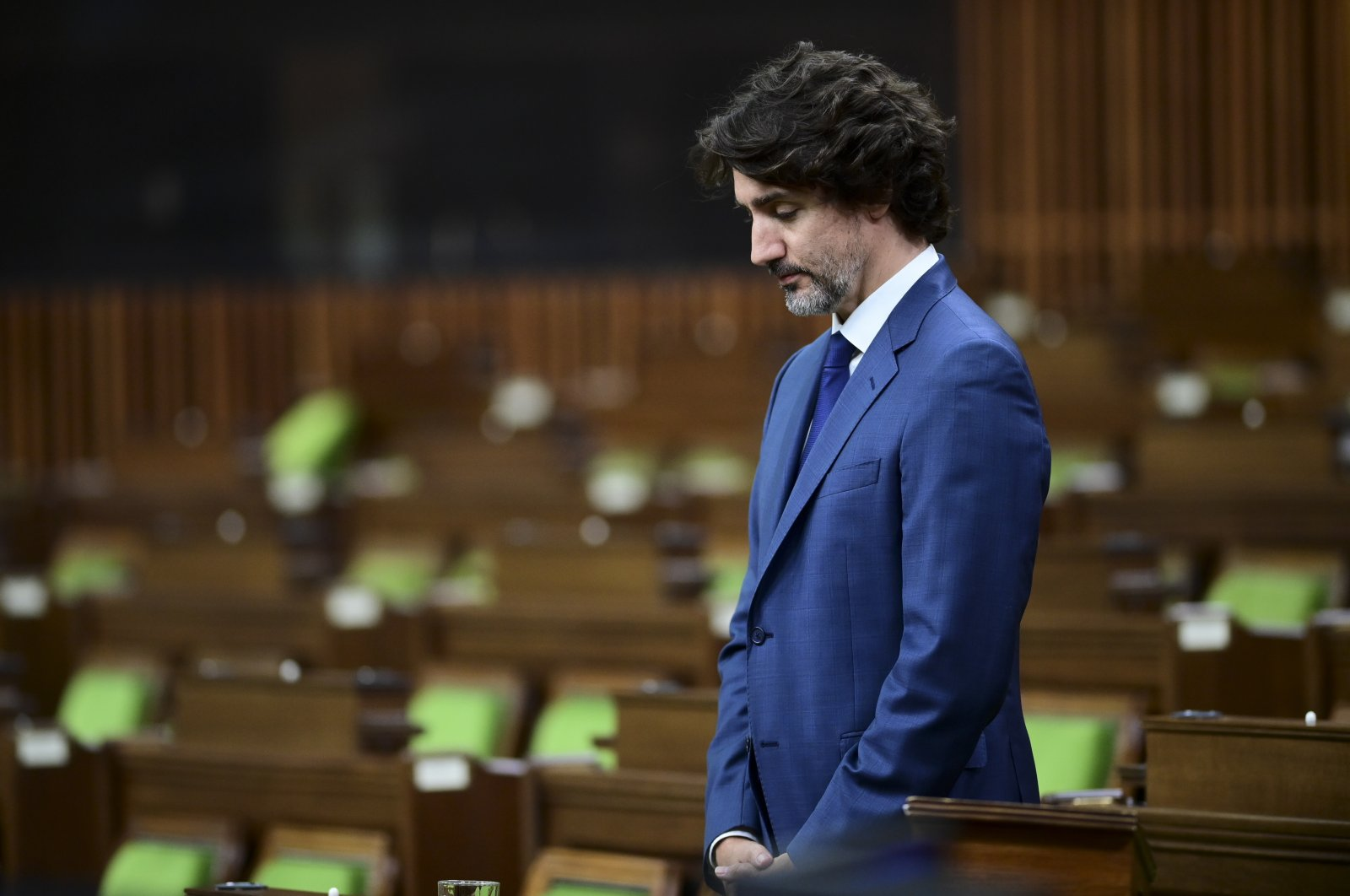 Canadian Prime Minister Justin Trudeau takes part in a moment of silence in the House of Commons on Parliament Hill in Ottawa, June 8, 2021, in response to the recent events in London, Ontario. (AP Photo)