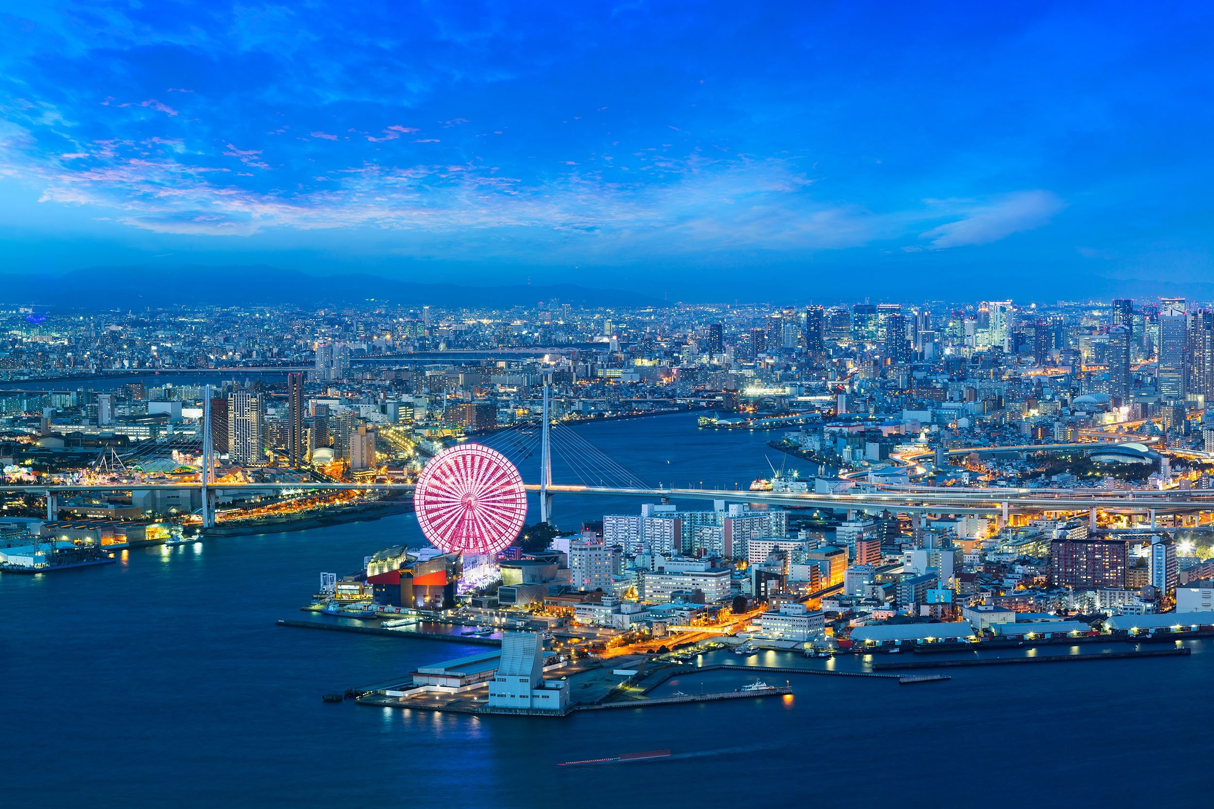 City lights brighten the night in Osaka, Japan. (Shutterstock Photo)