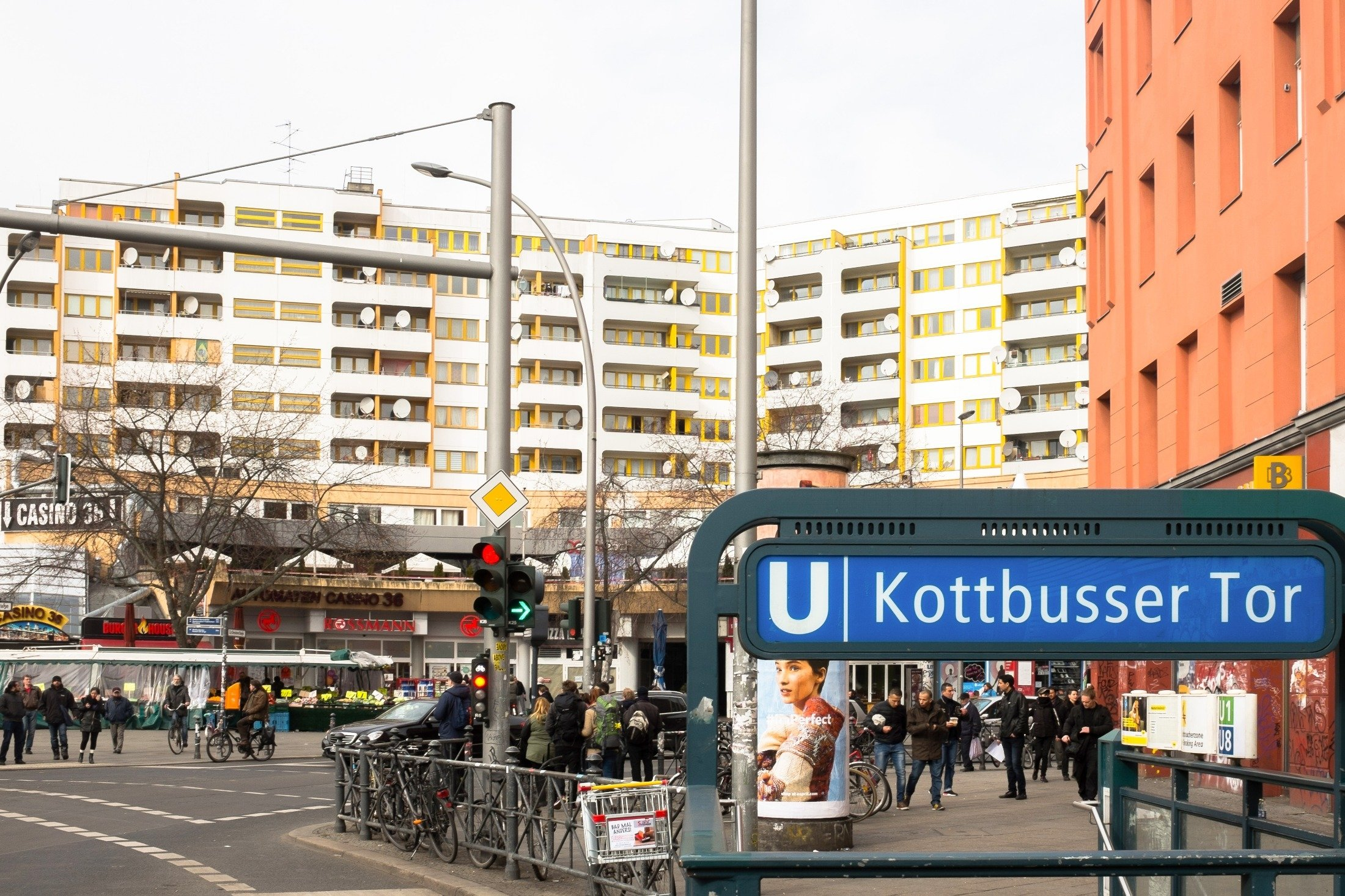 A sign for the Kottbusser Tor station can be seen in the SO36 in Kreuzberg district, Berlin, Germany, March 3, 2016. (Shutterstock Photo)