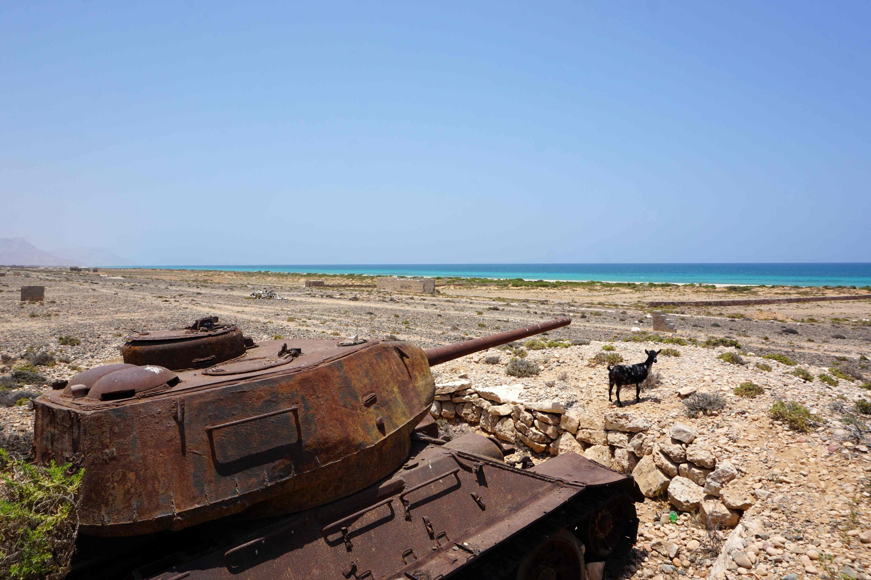 A Soviet-era tank rusts on the northern coast of the Yemeni island of Ghubbah, April 14, 2021. (AFP Photo)