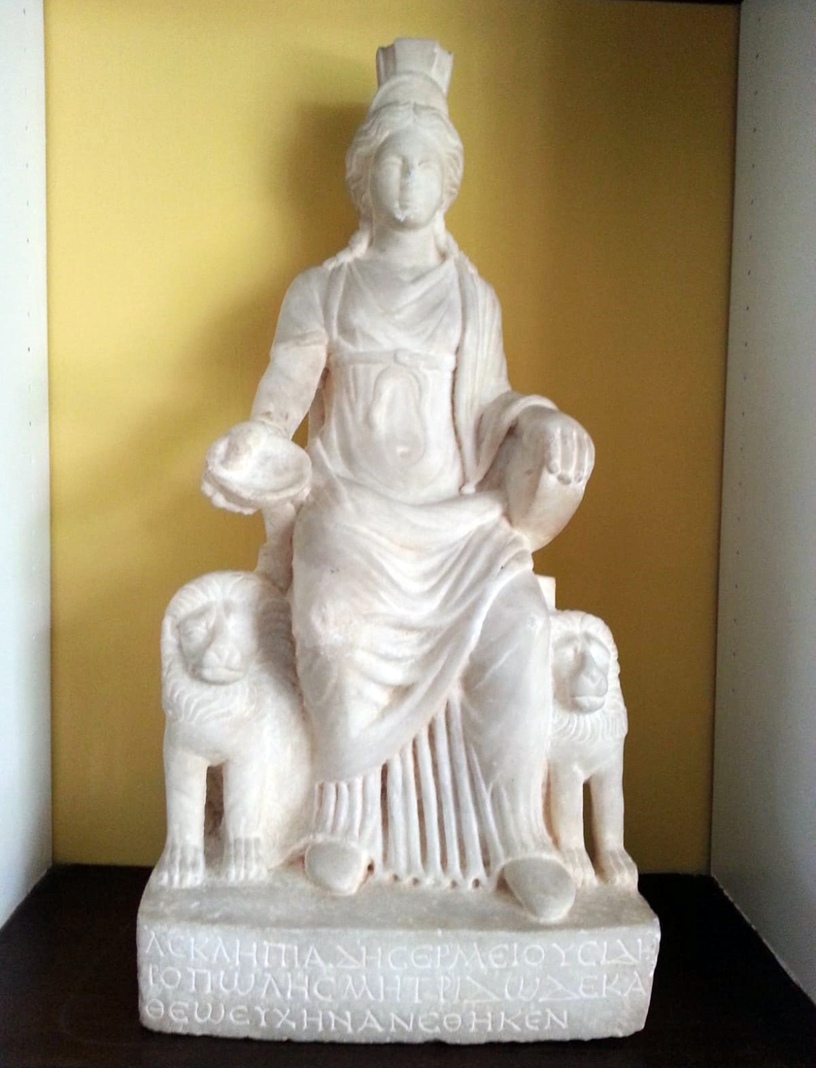 The marble statue of Cybele features lions on either side. (Archive Photo)