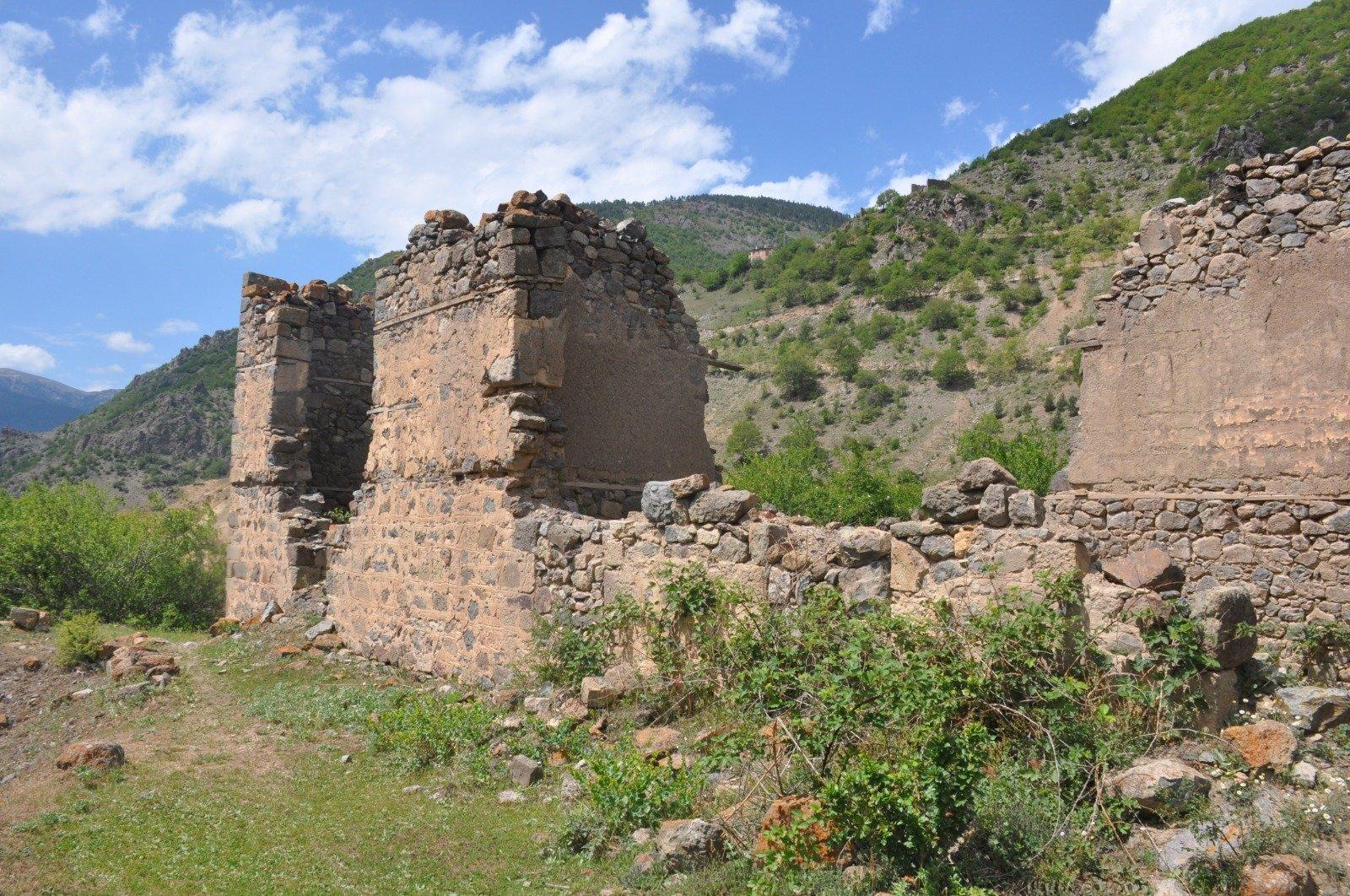 A view of the ruins of Manastır Castle, in Gümüşhane, northern Turkey, June 9, 2021. (DHA PHOTO)