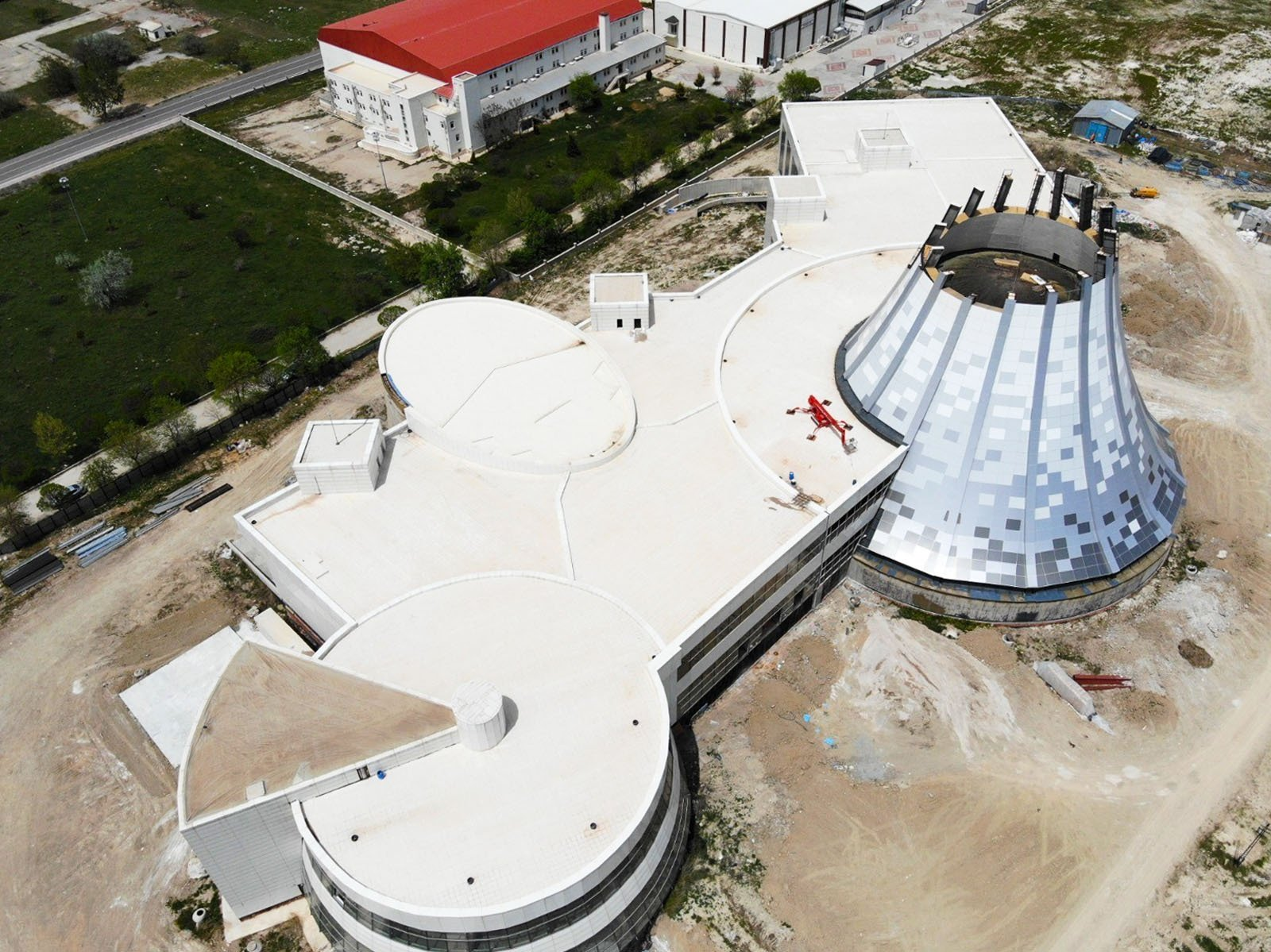 An aerial view shows the ongoing construction of a new museum in Afyonkarahisar, Turkey, May 22, 2021. (IHA Photo)