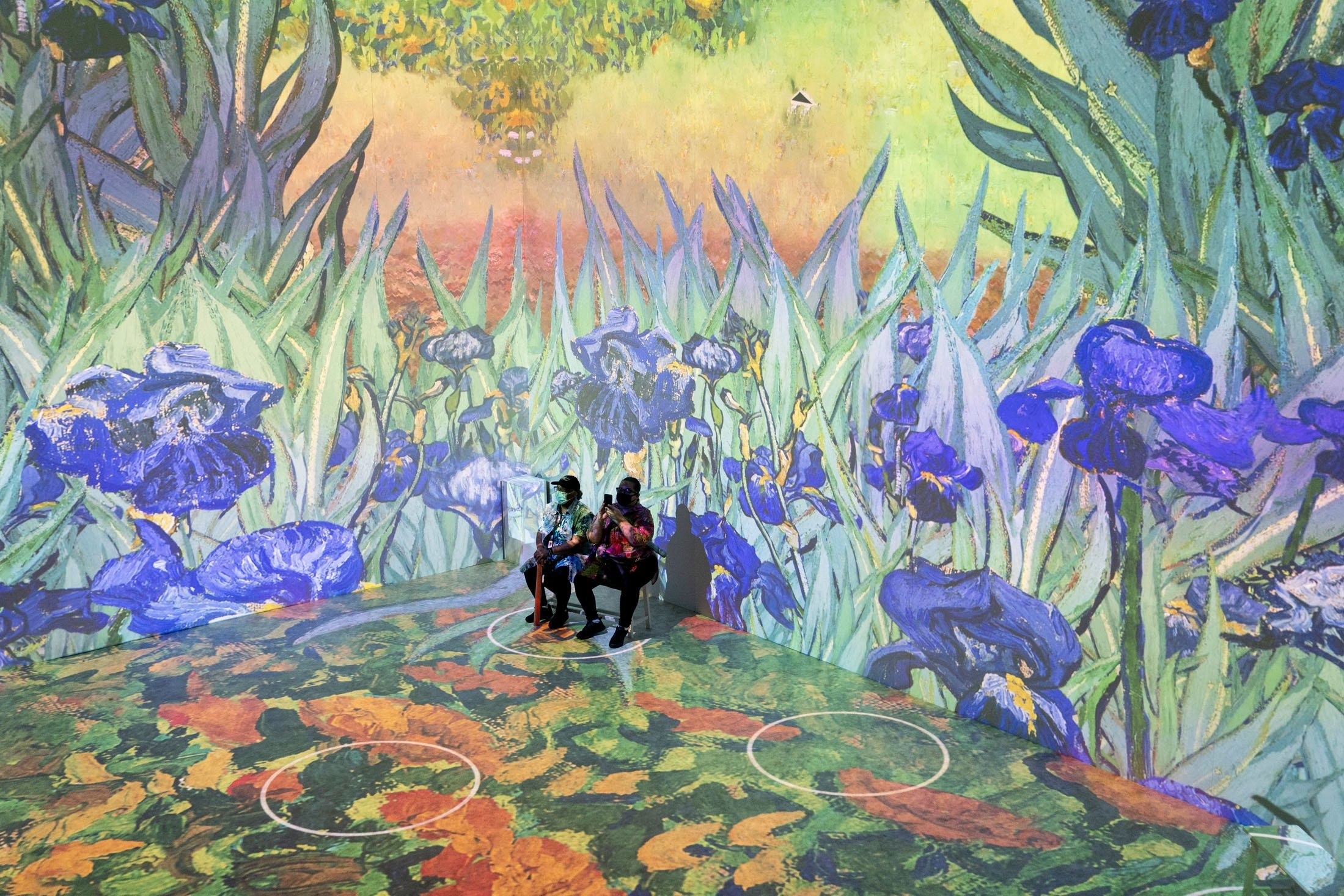 Projections of selected works of celebrated painter Vincent Van Gogh are displayed at a preview of the 'Immersive Van Gogh' exhibit at Pier 36 in New York, U.S., June 4, 2021. (AP Photo)