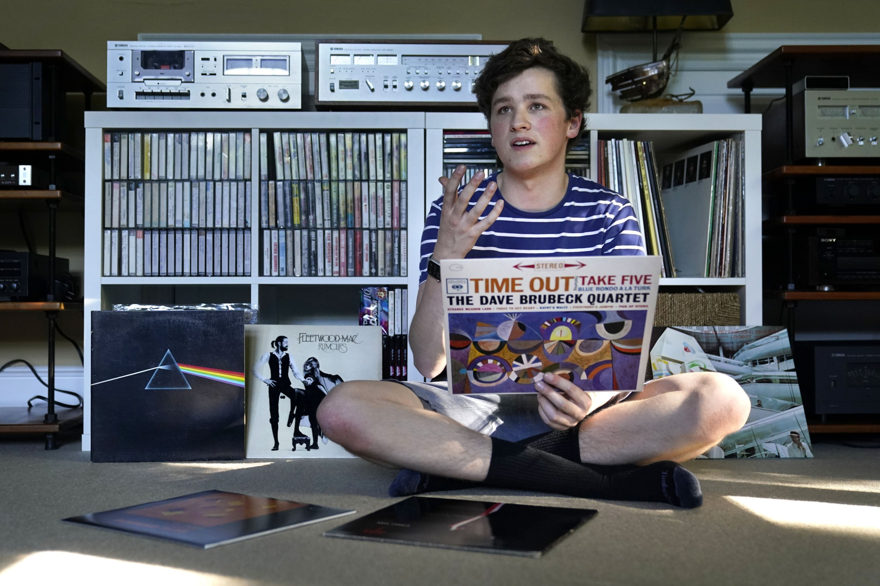 Will Emanuel discusses his interest in vinyl records at his home, in Falmouth, Maine, U.S., May 27, 2021. (AP Photo)