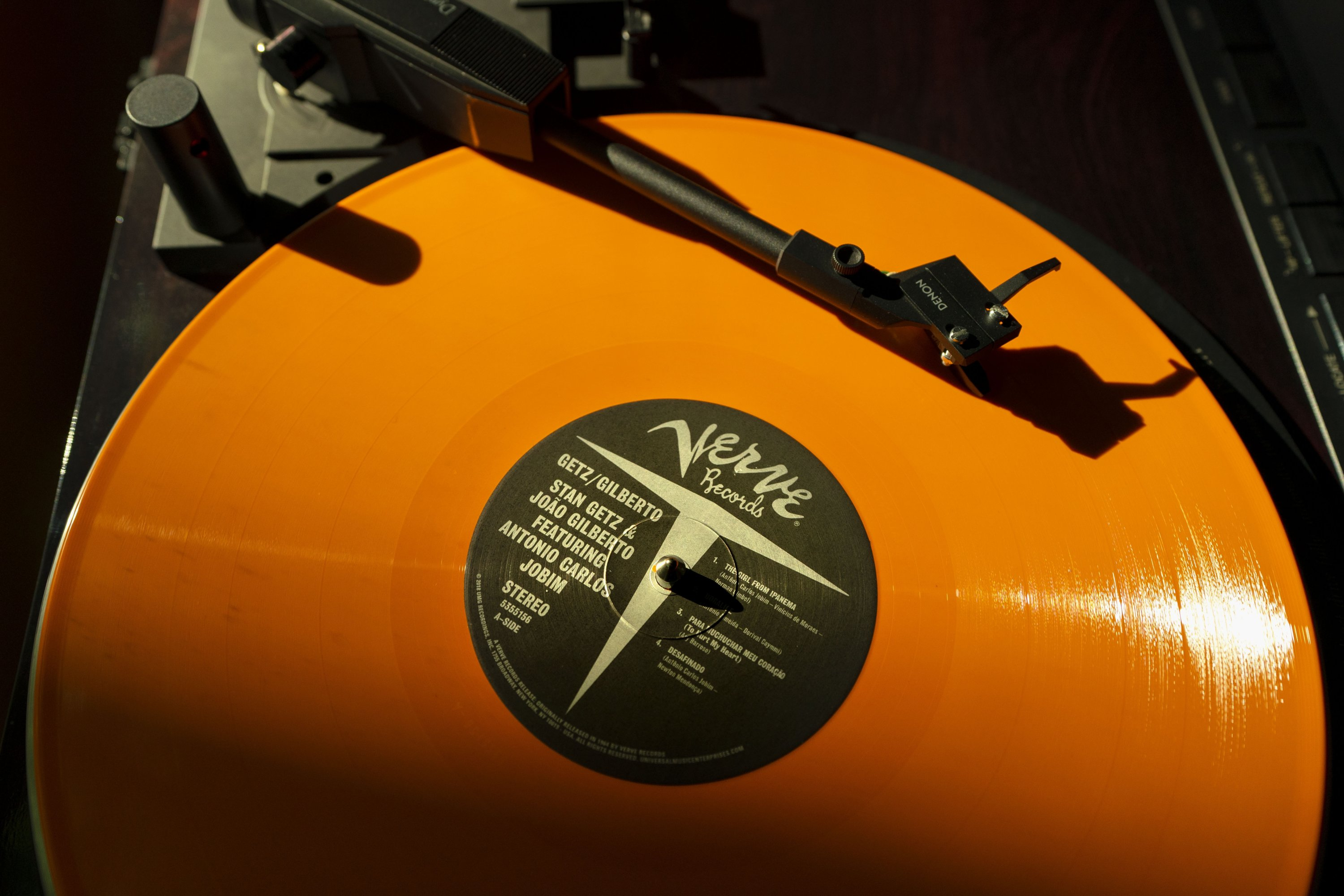 A vinyl record by The Verve plays on a turntable, in Falmouth, Maine, U.S., May 27, 2021. (AP Photo)
