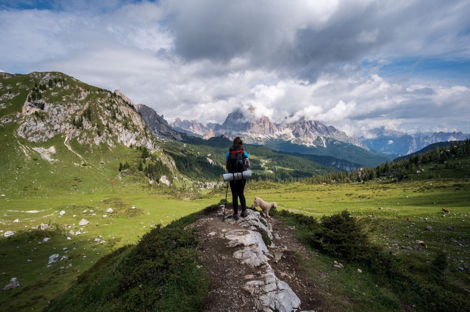A young hiker with a backpack walks on a mountain trail with a dog. (Shutterstock Photo)