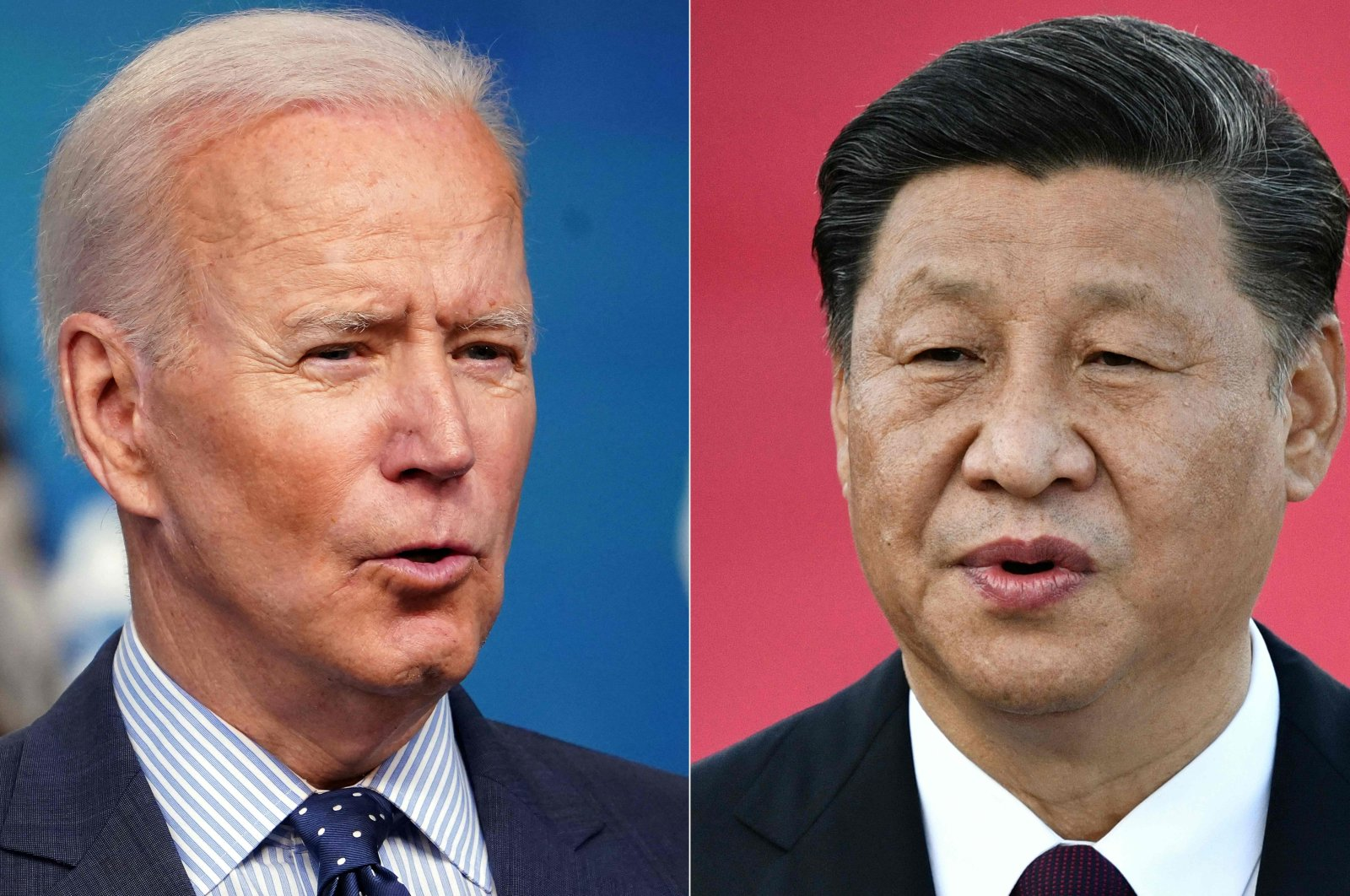 This combination of file pictures created on June 8, 2021, shows U.S. President Joe Biden (L) speaking at the Eisenhower Executive Office Building in Washington, D.C. on June 2, 2021; and Chinese President Xi Jinping speaking upon arrival at Macau's international airport on Dec. 18, 2019. (AFP Photo)