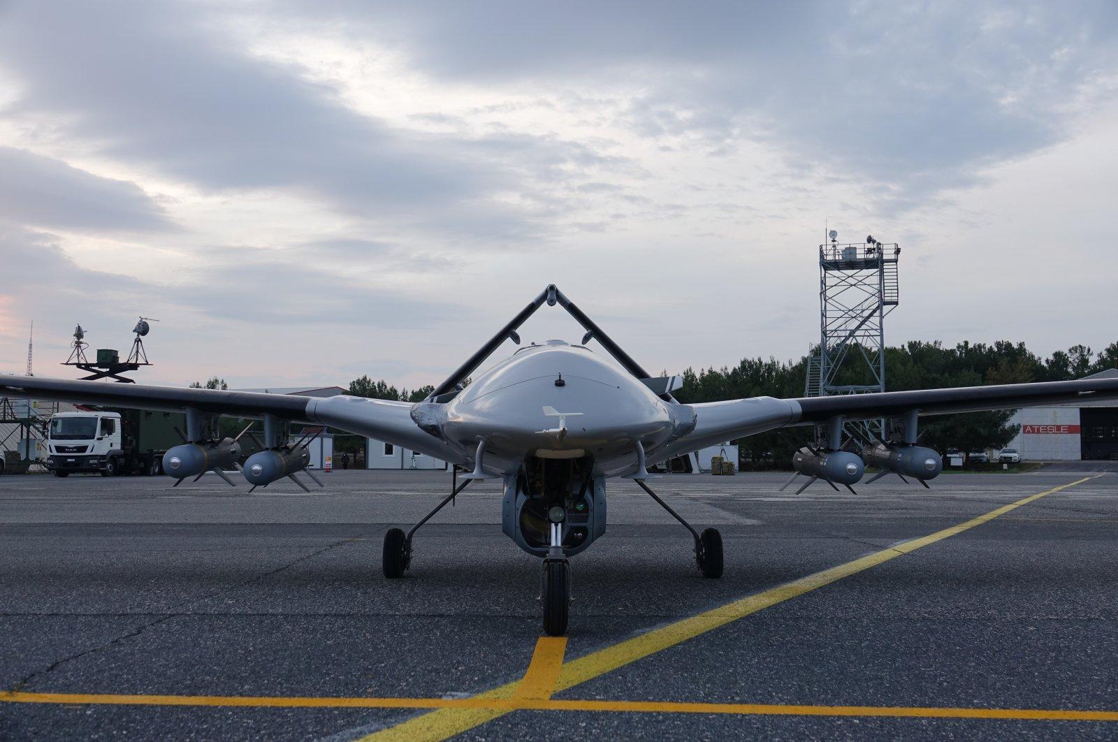 A Bayraktar TB2 unmanned combat aerial vehicle (UCAV) waits at a Baykar facility, Turkey, May 24, 2021. (Courtesy of Baykar)