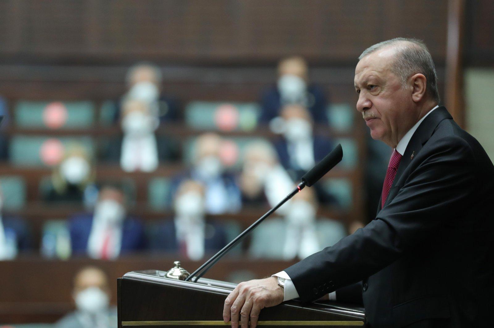 President Recep Tayyip Erdoğan speaks at the AK Party parliamentary group meeting, Ankara, Turkey, June 9, 2021. (AA Photo)