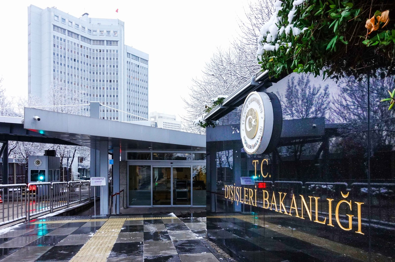 A sign for the Foreign Ministry hangs outside its headquarters in the capital Ankara, Turkey. (Shutterstock File Photo)