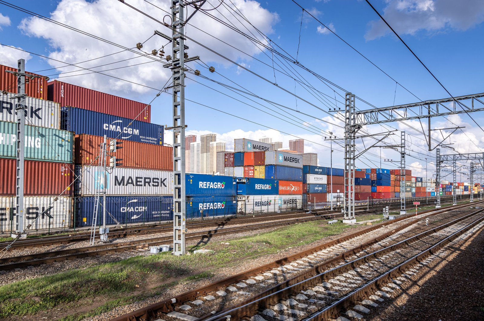 Cargo containers seen in a railway terminal in Moscow, Russia, May 3, 2021. (Shutterstock Photo)