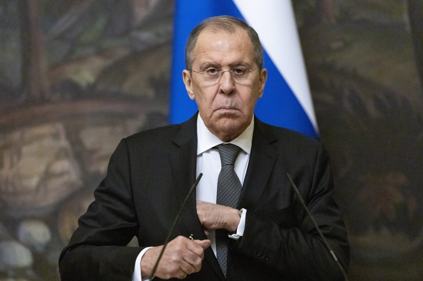 Russian Foreign Minister Sergey Lavrov prepares to leave a joint news conference with Palestinian Foreign Minister Riyad al-Maliki following their talks in Moscow, Russia, May 5, 2021. (AP Photo)