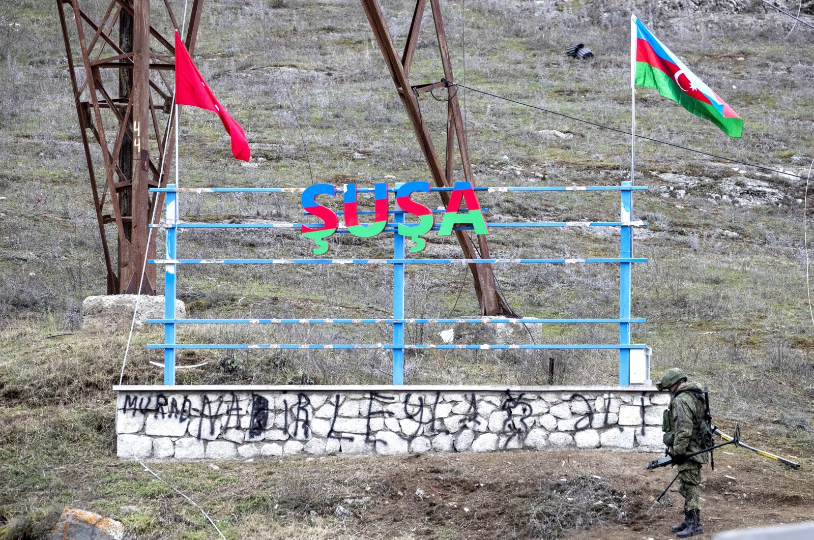 A Russian soldier is seen at the entrance to the town of Shusha, Azerbaijan, Nov. 26, 2020 (Getty Images)