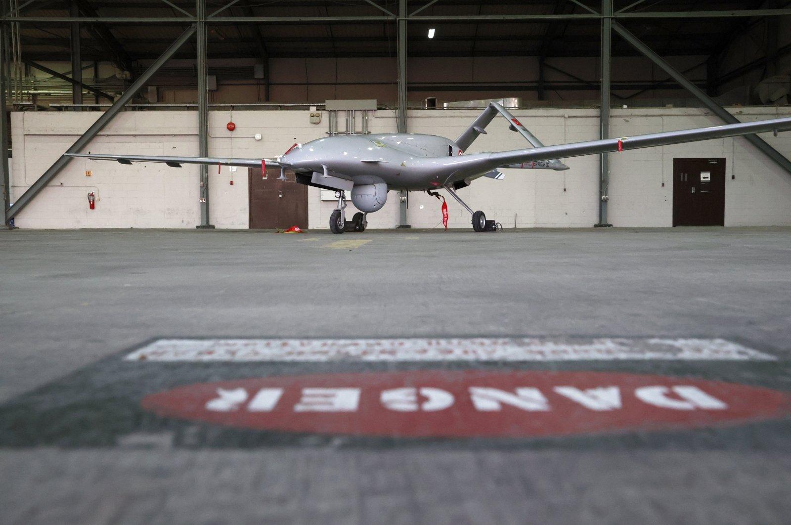 A Turkish Bayraktar TB2 combat drone is seen at the Incirlik airbase, Adana, southern Turkey, May 25, 2021. (EPA Photo)