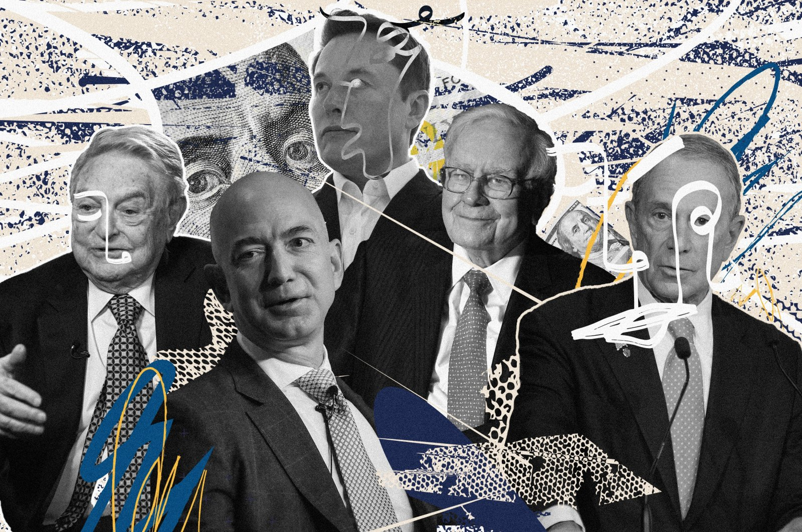 This combination of file pictures created on June 9, 2021 shows (from left to right) Open Society Foundations Chairperson George Soros, Amazon CEO Jeff Bezos, Tesla CEO Elon Musk, Warren Buffett, chairman and CEO of Berkshire Hathaway and Michael Bloomberg, former New York City mayor and founder of Bloomberg LP.