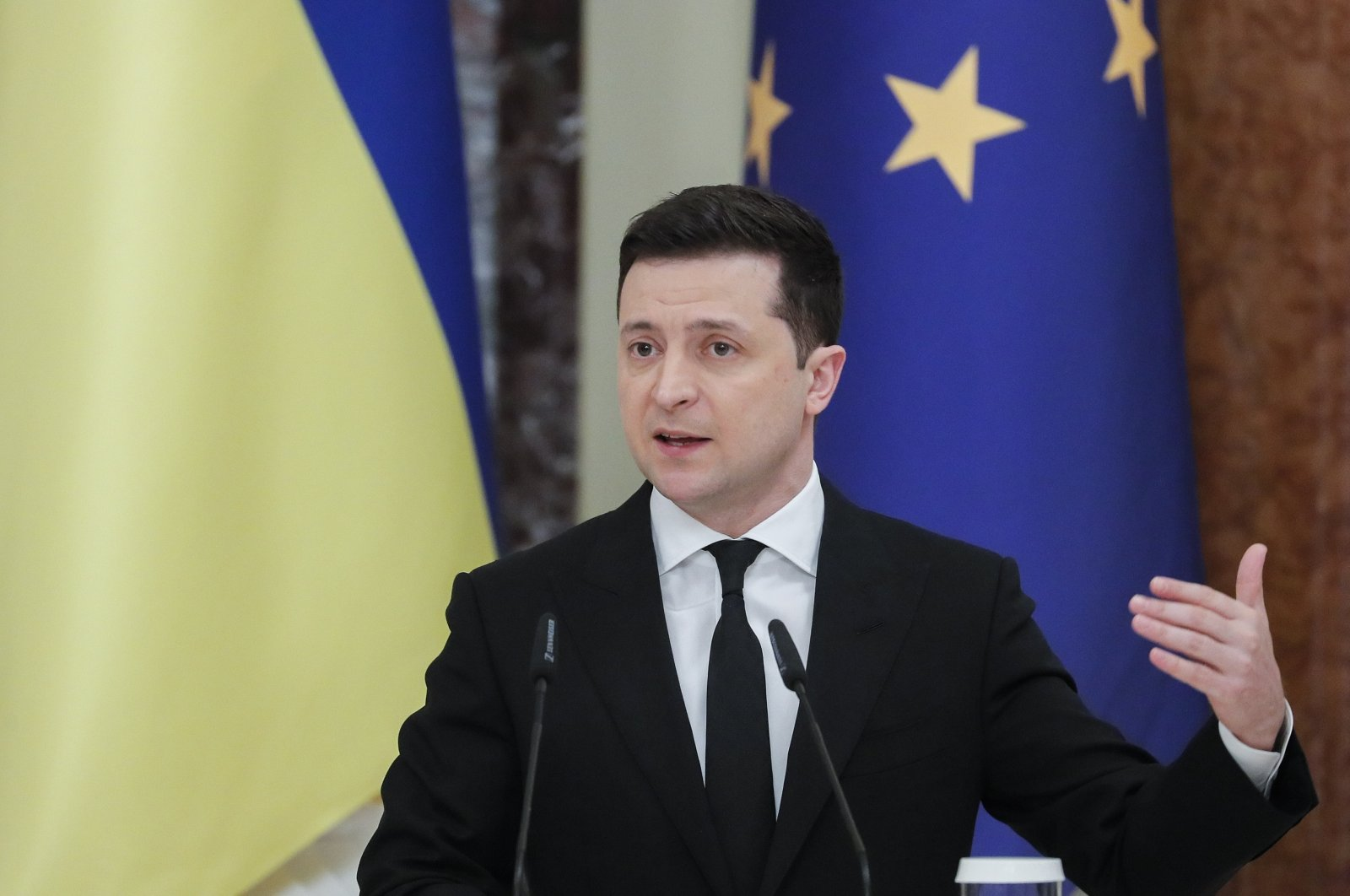 Ukrainian President Volodymyr Zelenskyy speaks during a joint press conference with President of the European Union Council Michel (not pictured) in Kyiv, Ukraine, March 3, 2021. (EPA Photo)