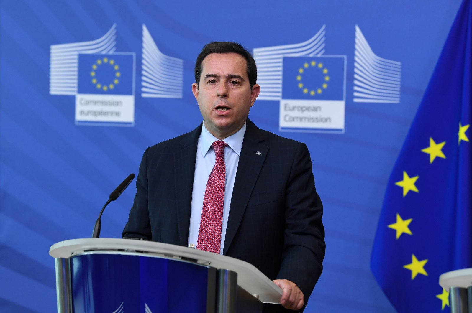 Greek Minister of Migration and Asylum Notis Mitarachi holds a press conference after his meeting with the European Union commissioner for Home Affairs at the EU headquarters in Brussels, Belgium, June 9, 2021.  (EPA Photo)