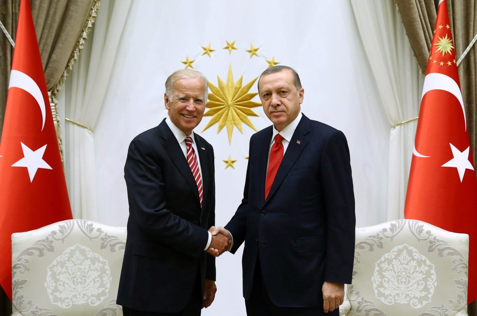 Turkish President Recep Tayyip Erdoğan meets with U.S. then-Vice President Joe Biden at the Presidential Palace in Ankara, Turkey, Aug. 24, 2016. (Reuters File Photo)