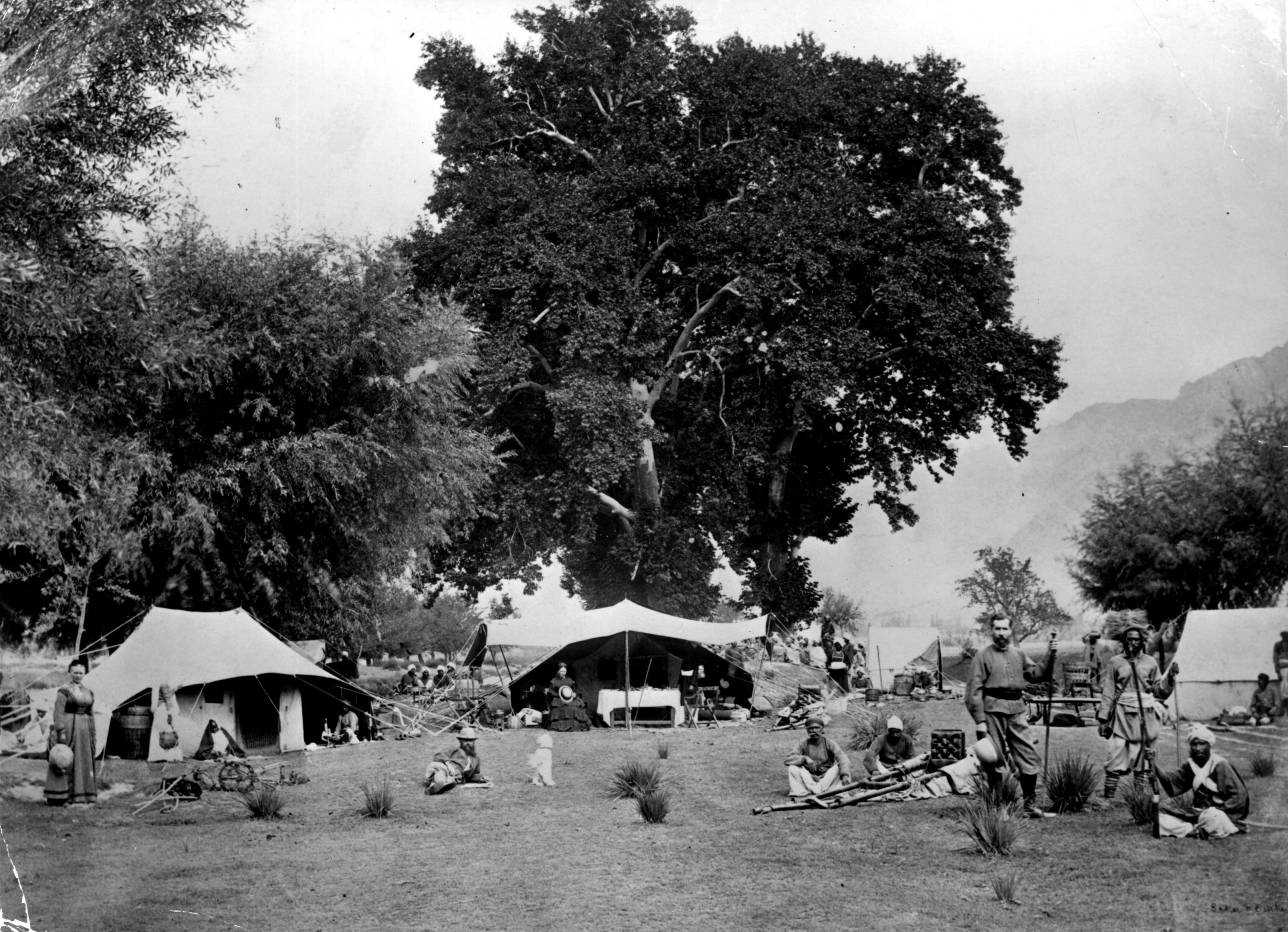 A British encampment with Indian soldiers in attendance, Kashmir, 1885. (Photo by Getty Images)