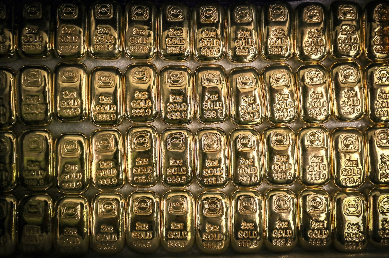 Ounce gold bars are displayed at the ABC Refinery smelter in Sydney, New South Wales, Australia, July 2, 2020. (Getty Images)