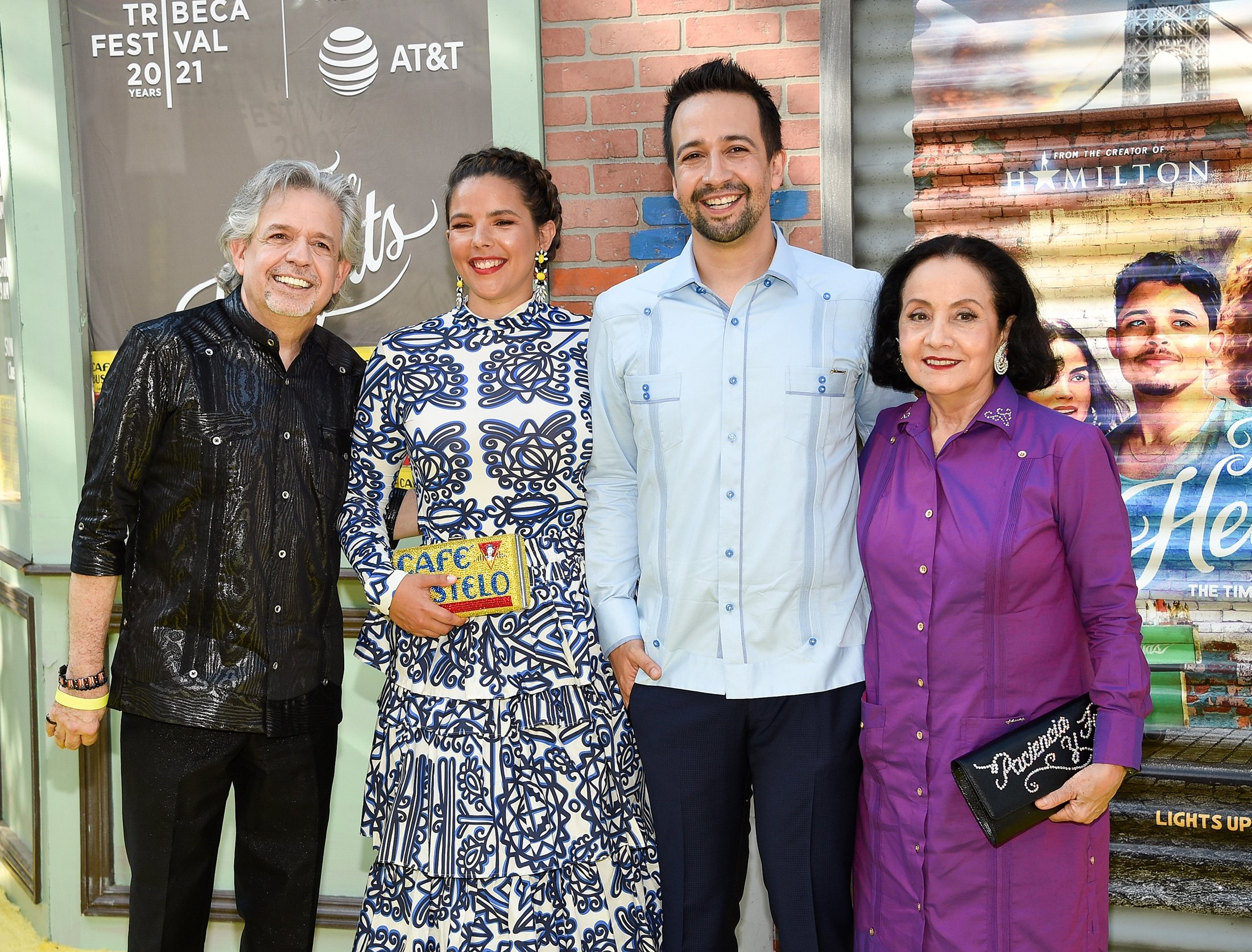 Producer Lin-Manuel Miranda (C-R), poses with his father, Luis A. Miranda Jr. (L), wife Vanessa Nadal (C-L) and mother, Dr. Luz Towns-Miranda, at the 2021 Tribeca Festival opening night premiere of 'In The Heights' at the United Palace theater in New York, U.S., June 9, 2021. (AP Photo)