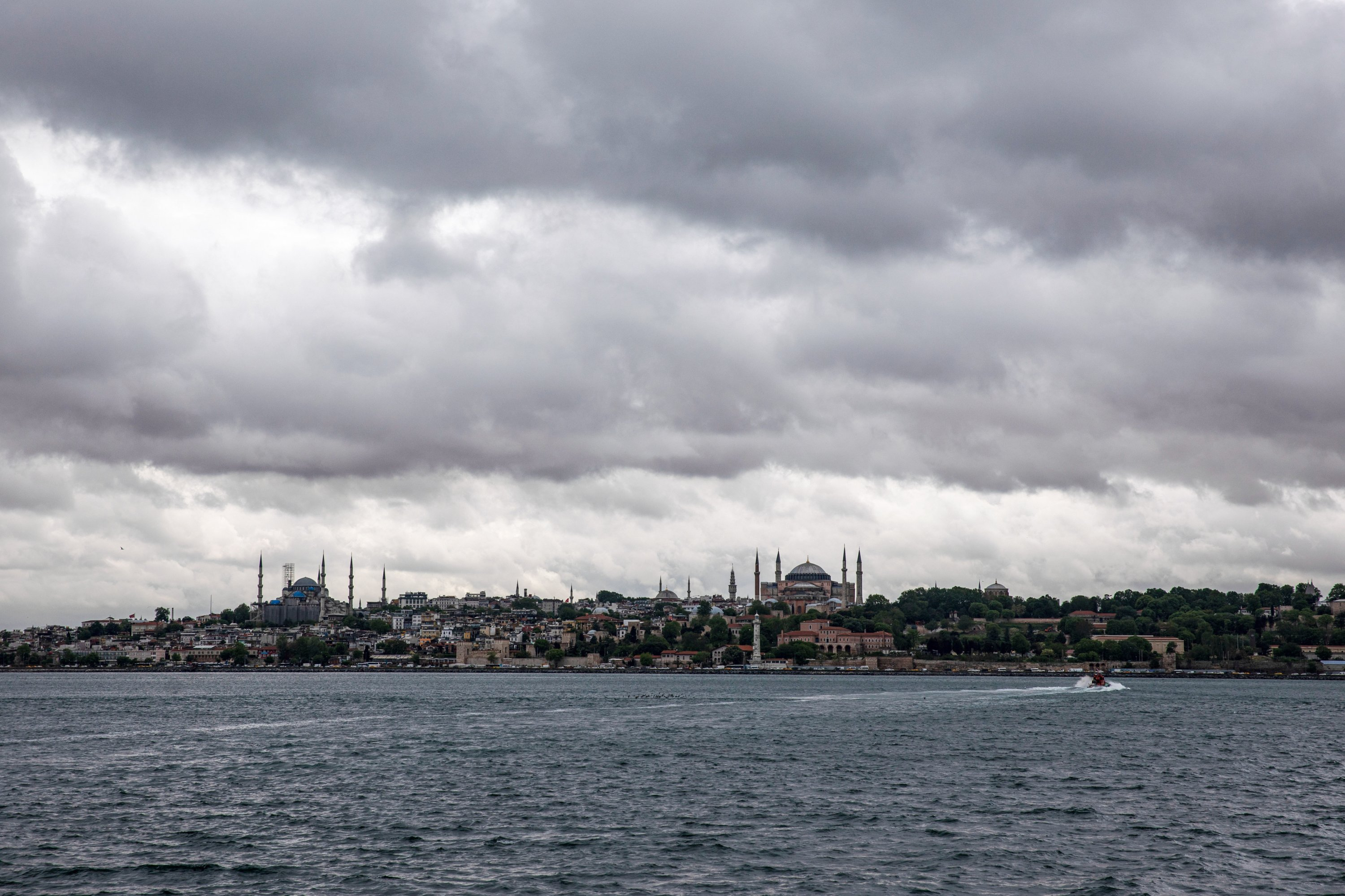 A view of the Hagia Sophia Grand Mosque (R) and Blue Mosque (L) on a cloudy day, the historical peninsula of Istanbul, Turkey, May 21, 2021. (Photo by Getty Images)