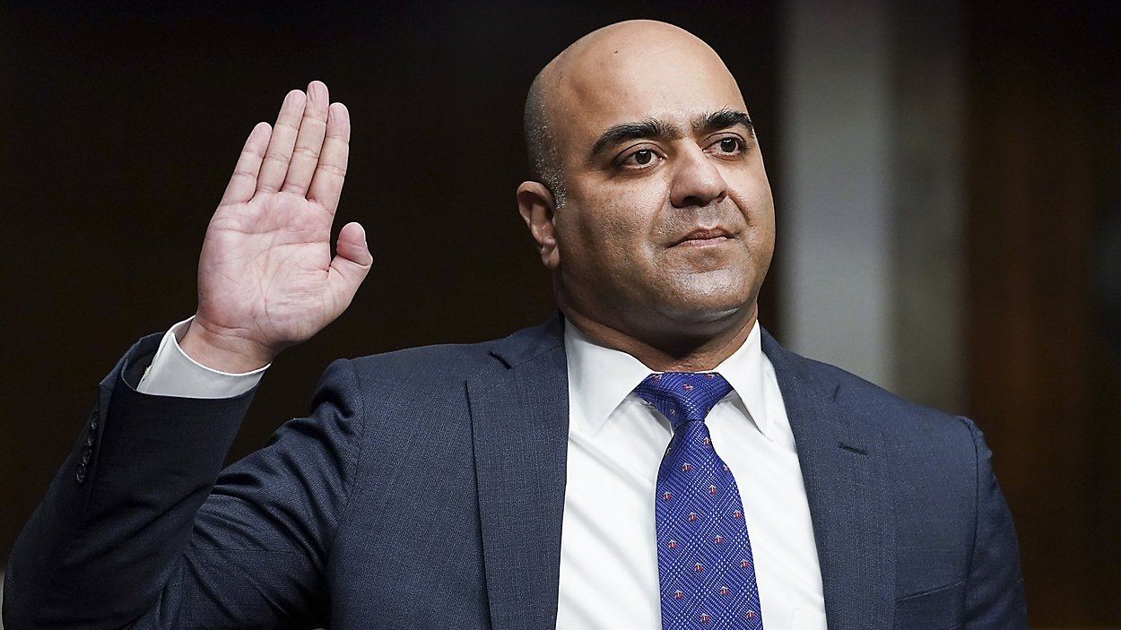 Zahid Quraishi, nominated by U.S. President Joe Biden to be a U.S. District Judge for the District of New Jersey, is sworn in during a Senate Judiciary Committee hearing on pending judicial nominations, Wednesday, April 28, 2021 on Capitol Hill in Washington. (AP Photo)