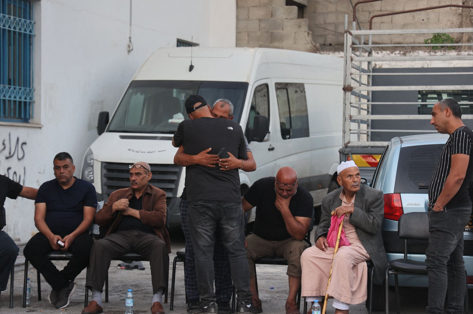 Relatives of a Palestinian killed by Israeli forces mourn outside a hospital in Jenin in the north of the occupied West Bank, Palestine, June 10, 2021. (AFP Photo)