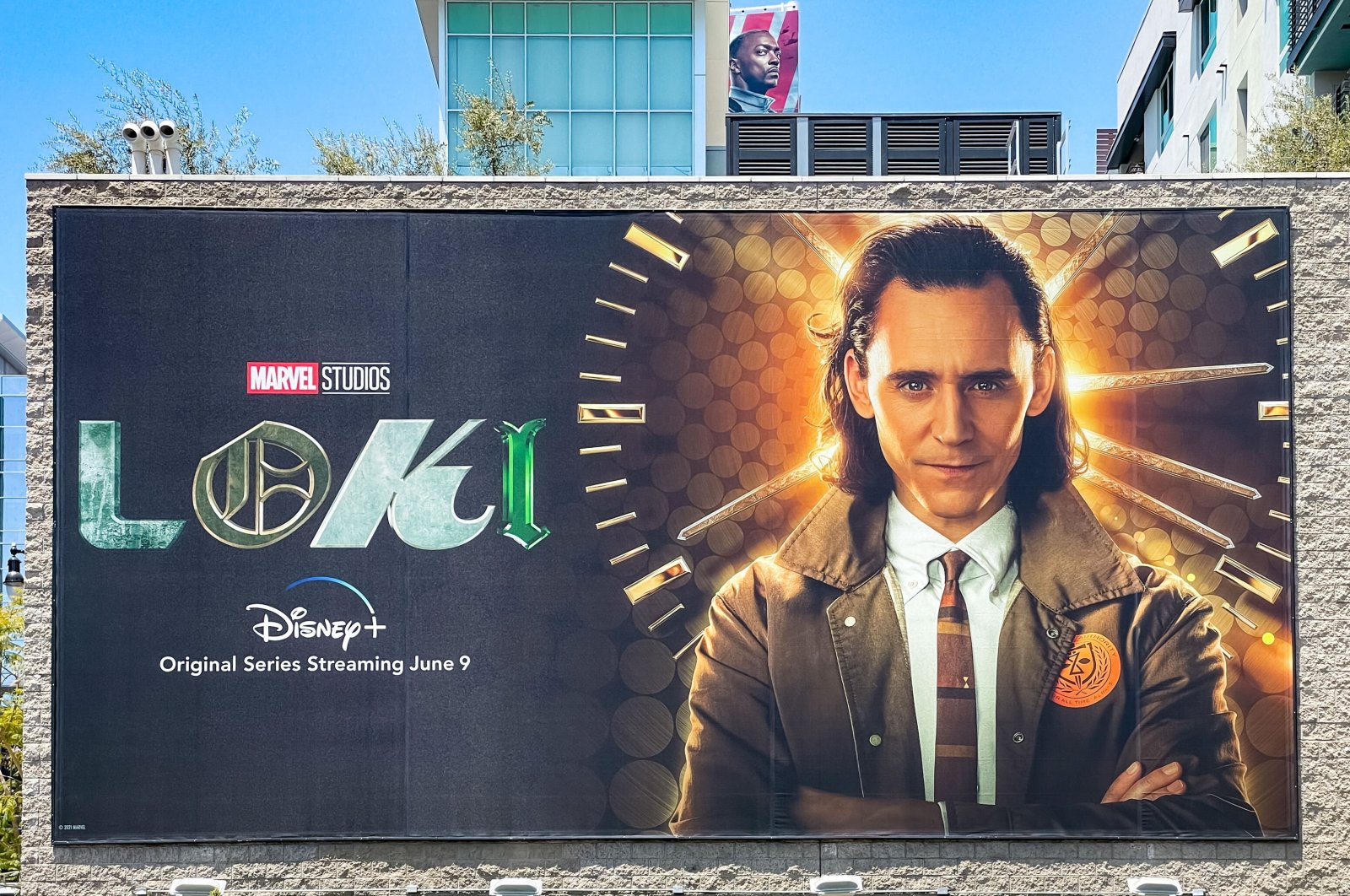 """A general view of a billboard promoting the Disney+ show """"Loki,"""" in Los Angeles, U.S., June 4, 2021. (Getty Images)"""