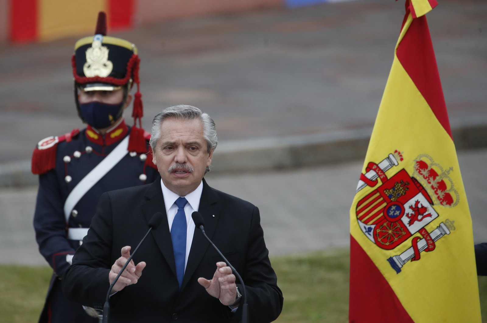Argentina's President Alberto Fernandez speaks during a news conference, with Spain's Prime Minister Pedro Sanchez, outside La Casa Rosada during Sanchez's one day visit to Buenos Aires, Argentina, Wednesday, June 9, 2021. (AP Photo)