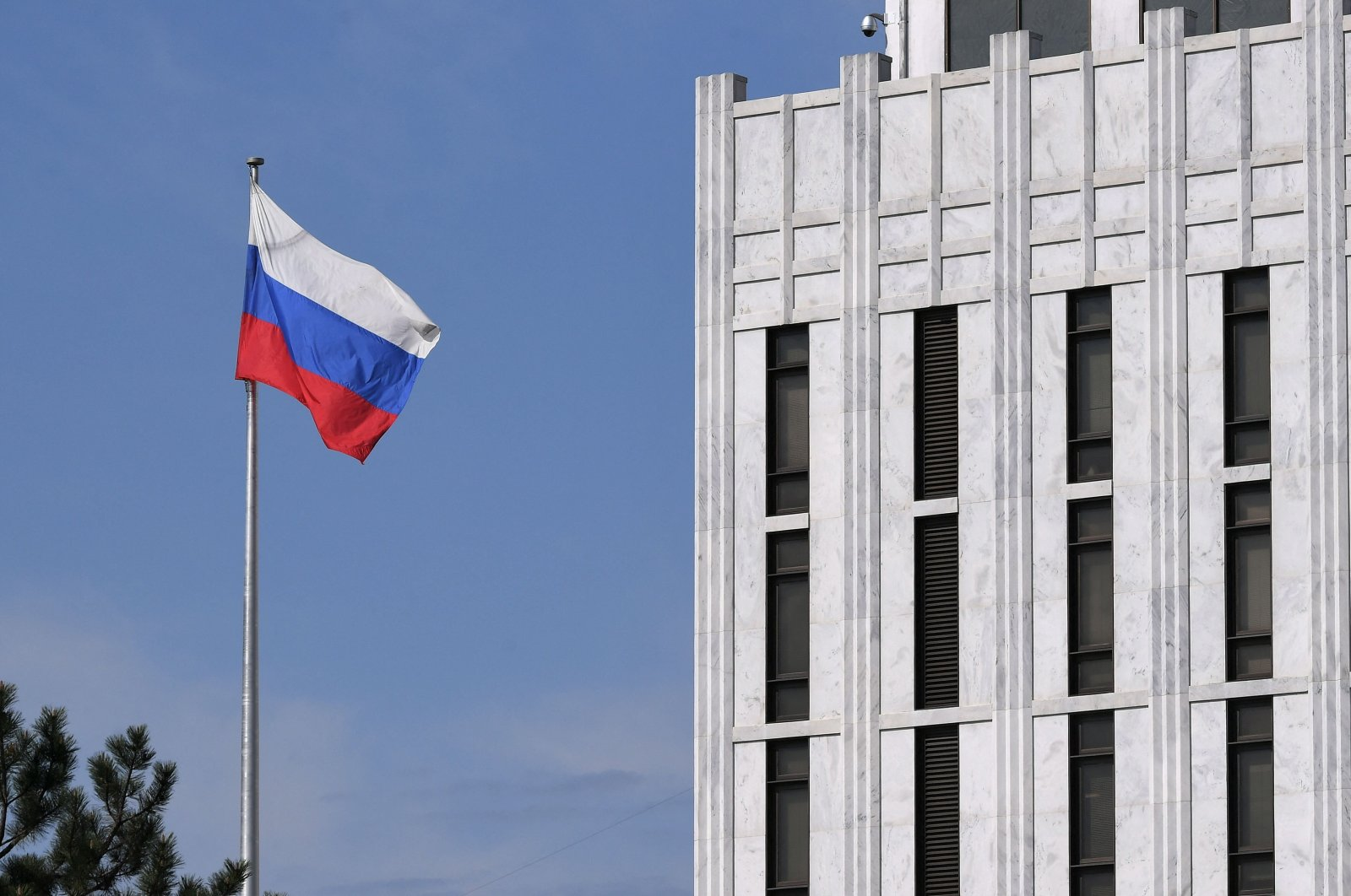 The Russian flag flies at the embassy's compound in Washington, D.C., the U.S., April 15, 2021. (AFP Photo)