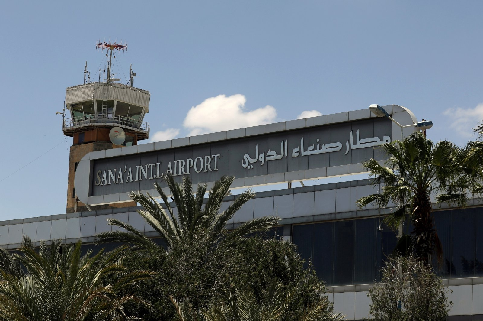 A view shows the tower of Sanaa airport in Sanaa, Yemen, Sept. 8, 2020. (Reuters Photo)