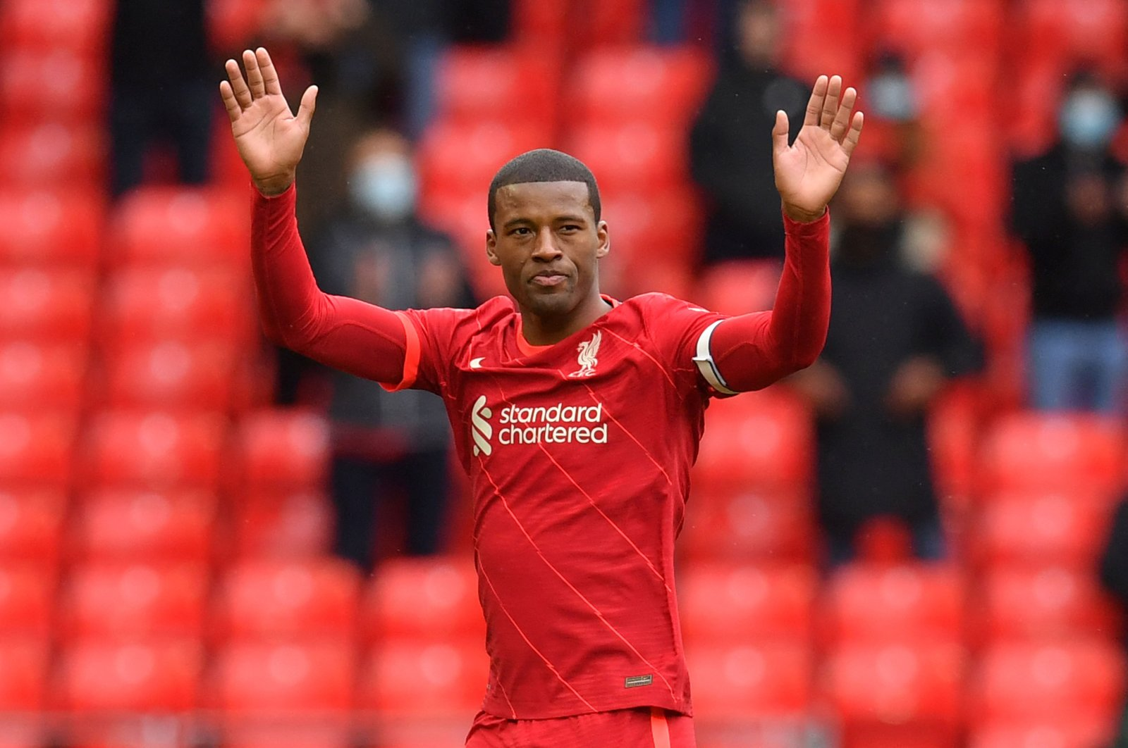 Liverpool's Dutch midfielder Georginio Wijnaldum leaves the pitch after being substituted off during the English Premier League football match between Liverpool and Crystal Palace at Anfield, Liverpool, England, May 23, 2021.