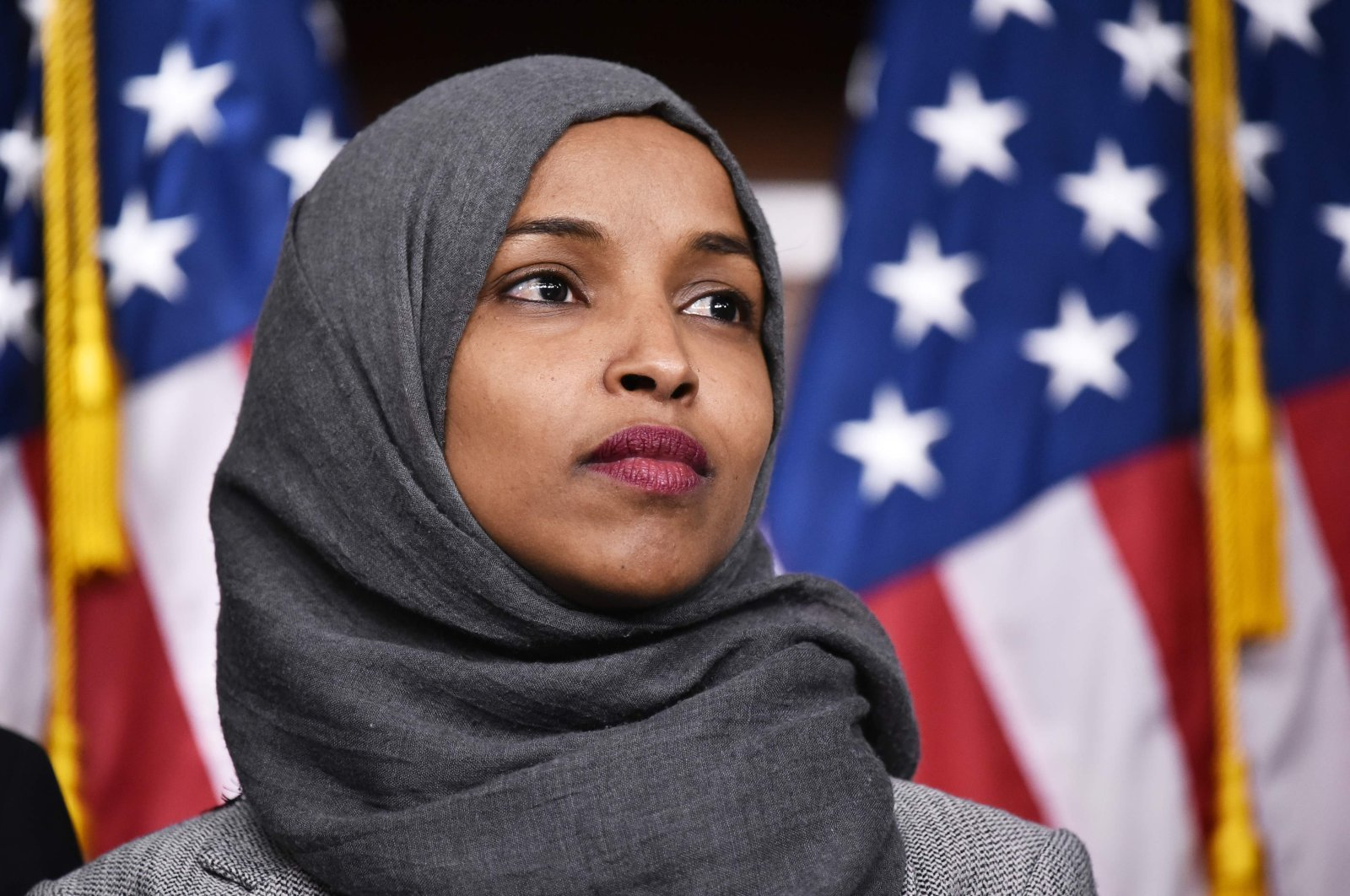 U.S. Rep. Ilhan Omar attends a press conference in the House Visitors Center at the U.S. Capitol, Washington, D.C., U.S., Nov. 30, 2018. (AFP Photo)