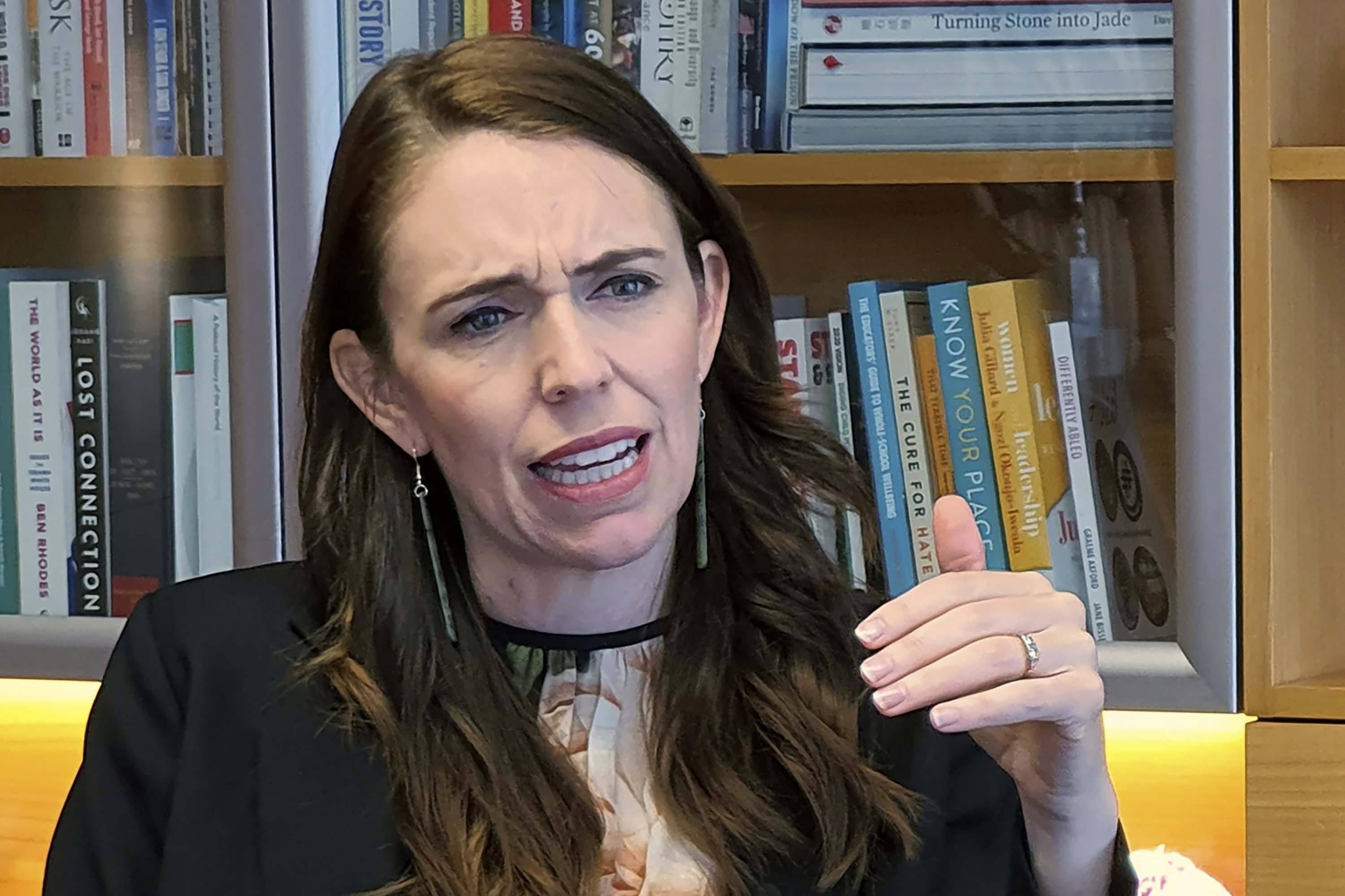 New Zealand's Prime Minister Jacinda Ardern speaks during an interview in her office at Parliament in Wellington, New Zealand, Dec. 16, 2020. (AP Photo)