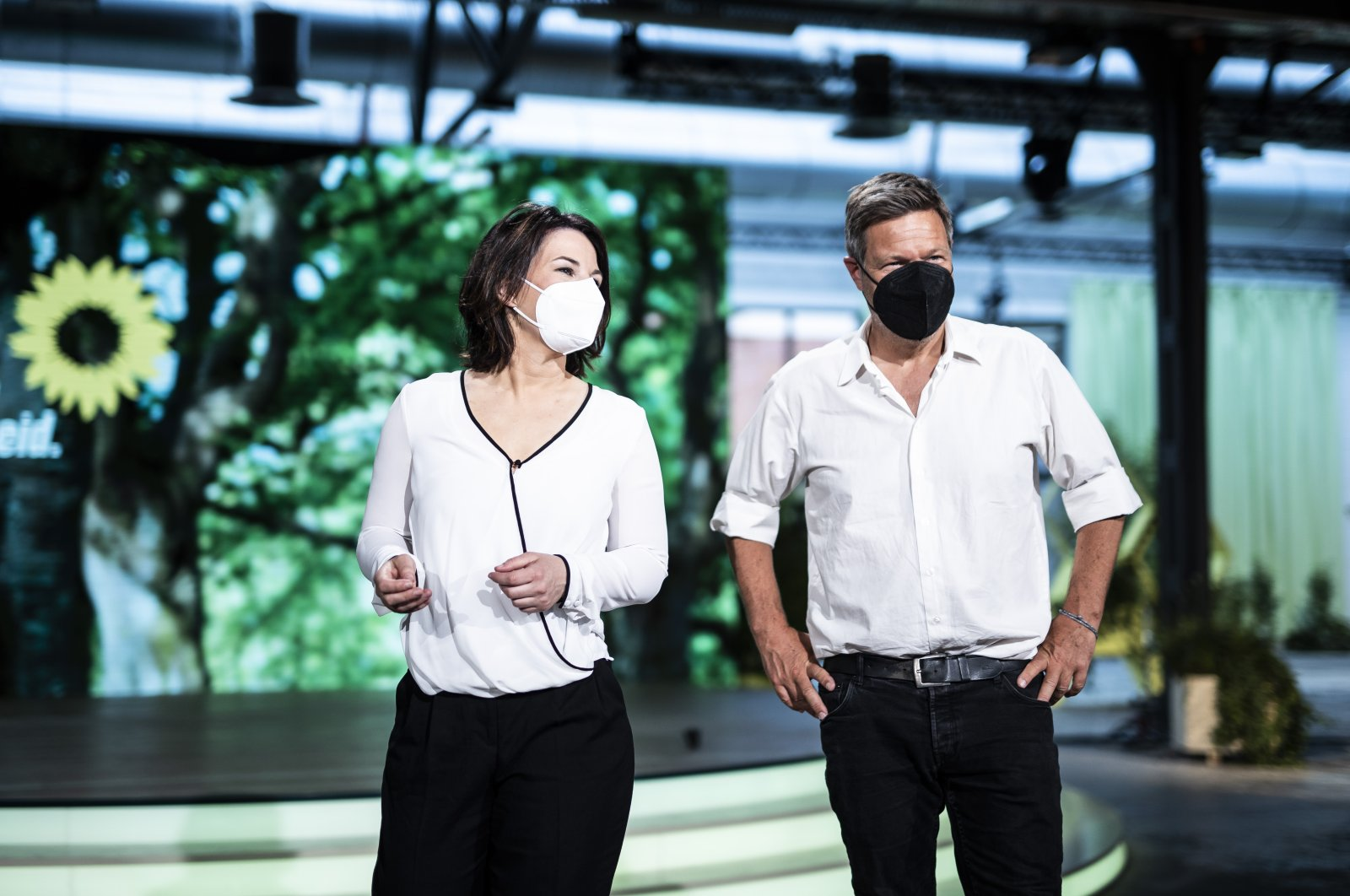 Annalena Baerbock (L), co-leader of the German Greens party, and chancellor candidate, and Robert Habeck, co-leader of the German Greens party, are pictured at the congress hall one day before the Greens party congress is set to start, Berlin, Germany, June 10, 2021. (Photo by Getty Images)
