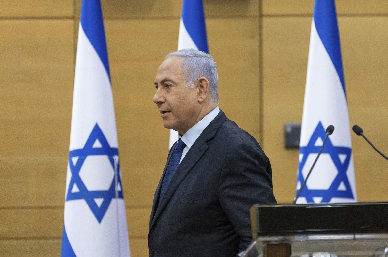 Israeli Prime Minister Benjamin Netanyahu speaks to the Israeli Parliament in Jerusalem, May 30, 2021. (AP Photo)