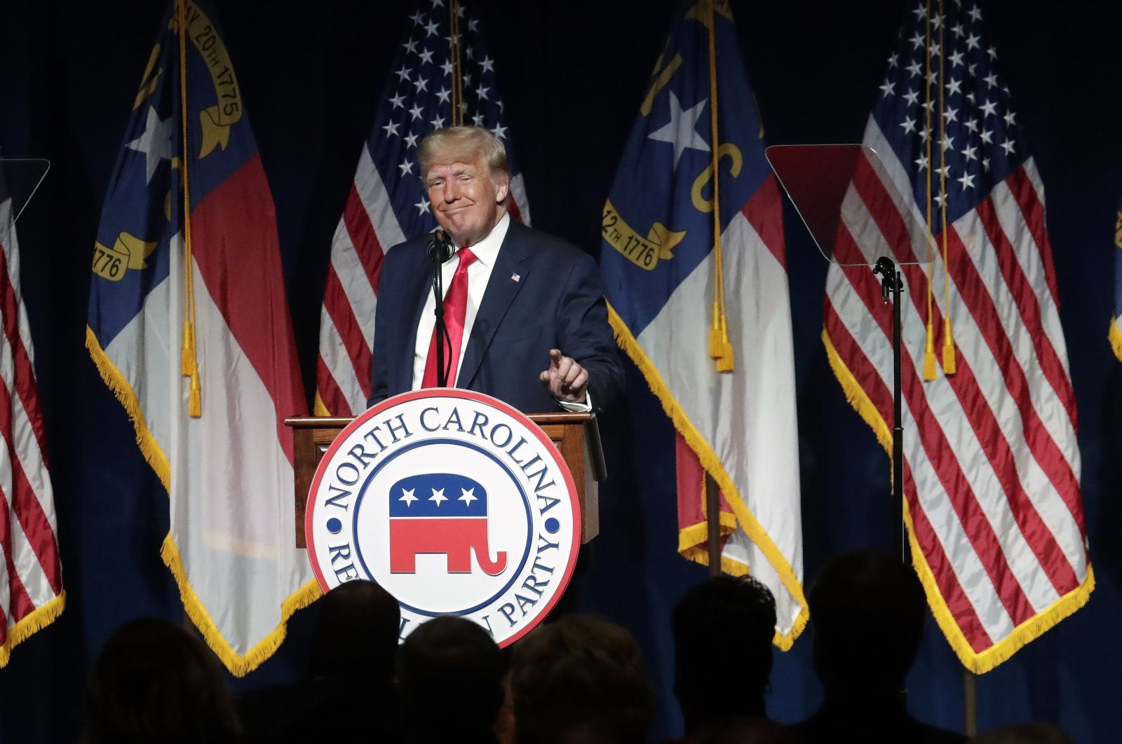 Former U.S. President Donald Trump speaks at the North Carolina Republican Convention in Greenville, N.C., U.S., June 5, 2021. (AP Photo)