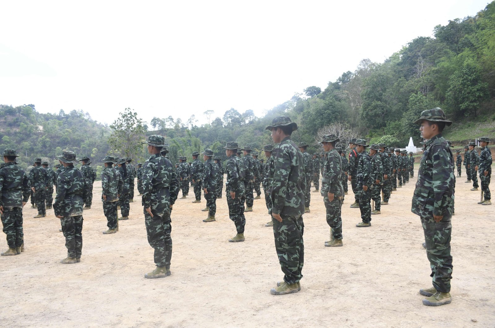 This handout photo from the local media group Kantarawaddy Times taken on May 10, 2021, and released on June 4 shows military training conducted by the Karenni National Progressive Party (KNPP) ethnic rebel group in Kayah State, Myanmar. (Kantarawaddy Times via AFP)