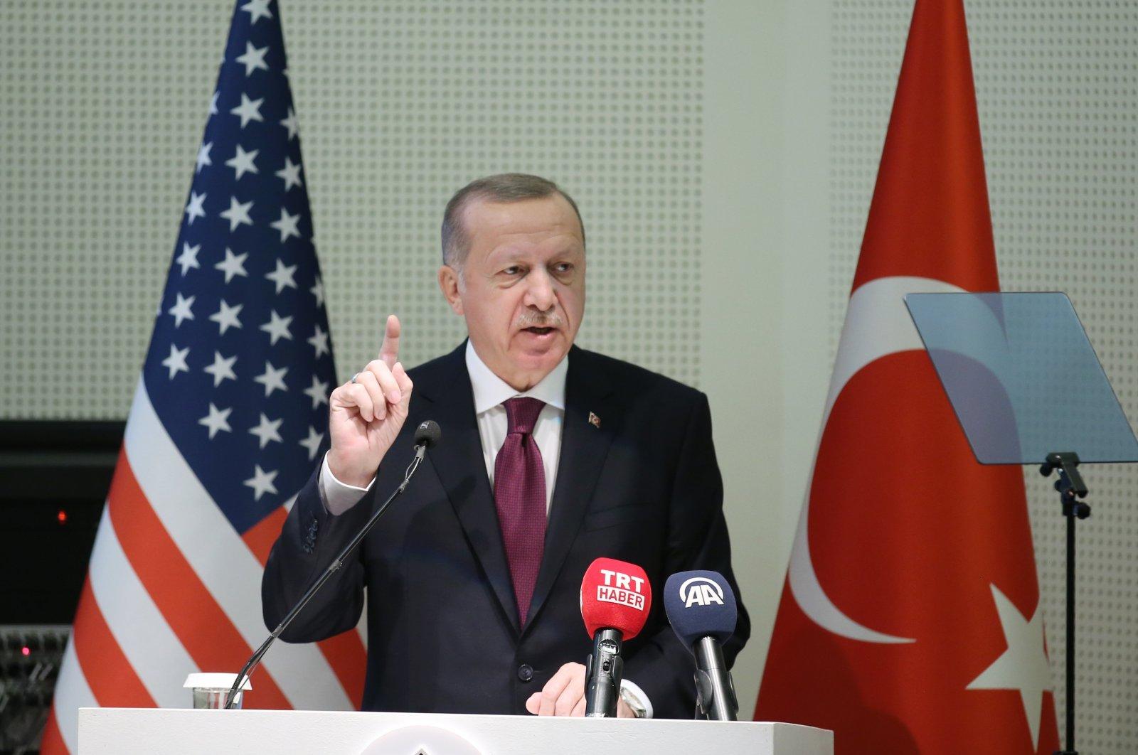 President Recep Tayyip Erdoğan at an event organized by the Turkish community in Lanham, Maryland, U.S., Nov. 15, 2019. (AA Photo)