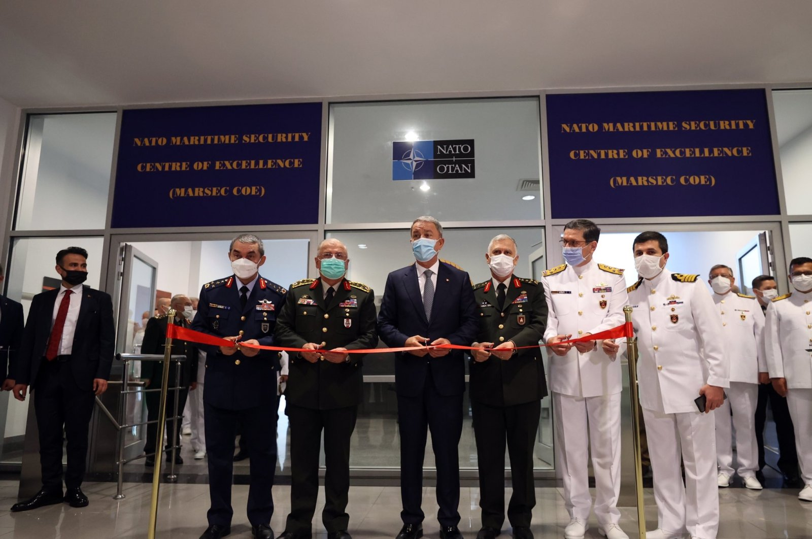 Turkish Defense Minister Hulusi Akar attends the opening ceremony of the NATO Maritime Security Center of Excellence in Istanbul, Turkey, June 11, 2021. (DHA Photo)
