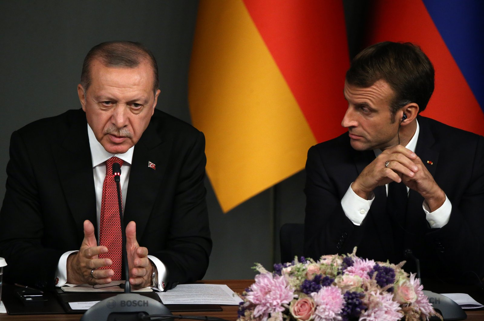President Recep Tayyip Erdoğan (R) speeches as French President Emmanuel Macron (R) looks on during their joint press conference in Istanbul, Turkey, October, 27,2018. (Getty Images)
