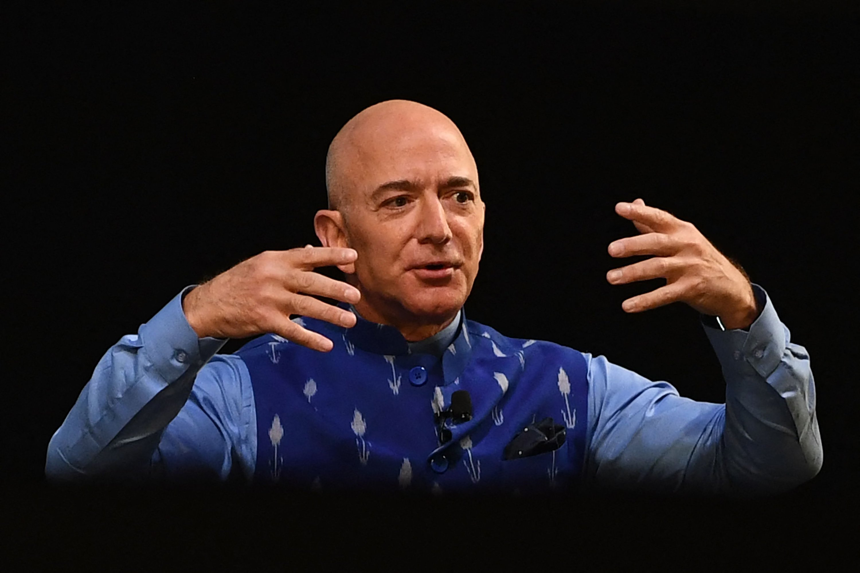 Founder Jeff Bezos gestures as he addresses Amazon's annual Smbhav event in New Delhi, India, Jan. 15, 2020. (AFP)