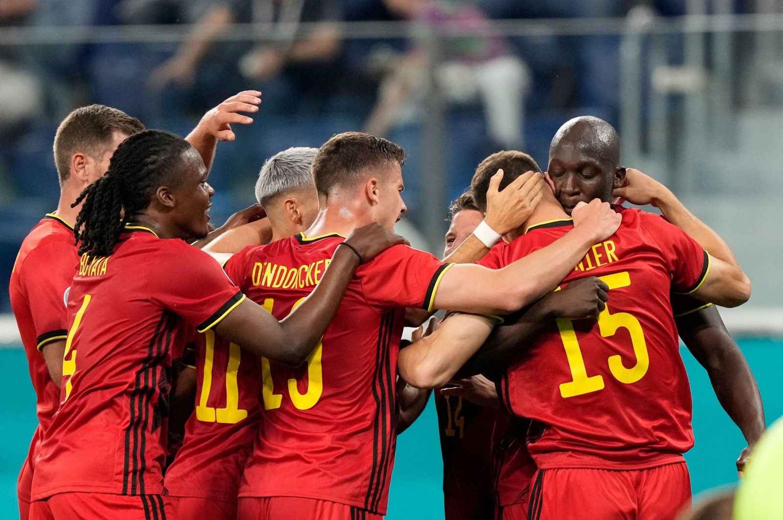 Belgium players celebrate a goal during a Euro 2020 match against Russia at the Saint Petersburg Stadium, in Saint Petersburg, Russia, June 12, 2021. (AFP Photo)