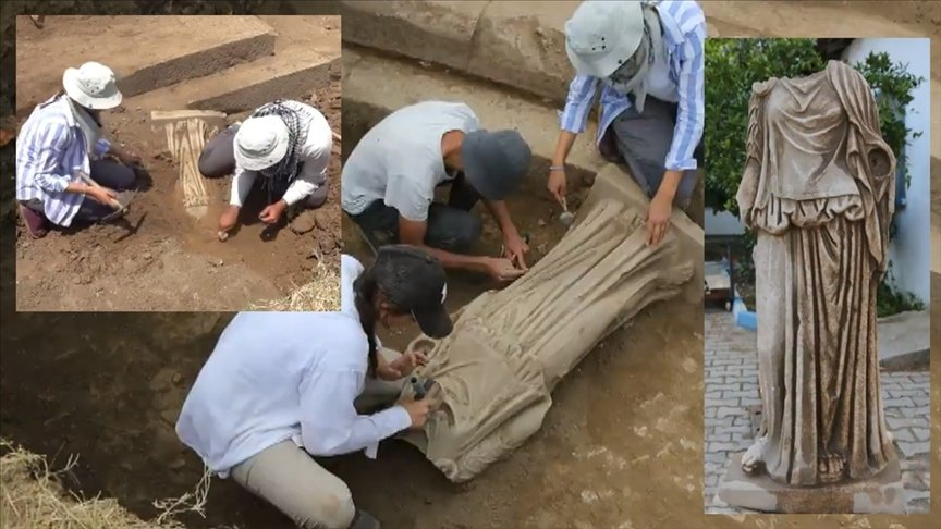 This photo collage shows the ancient statue and the process of its unearthing by archaeologists in western Turkey's Izmir on June 12, 2021. (AA Photo)