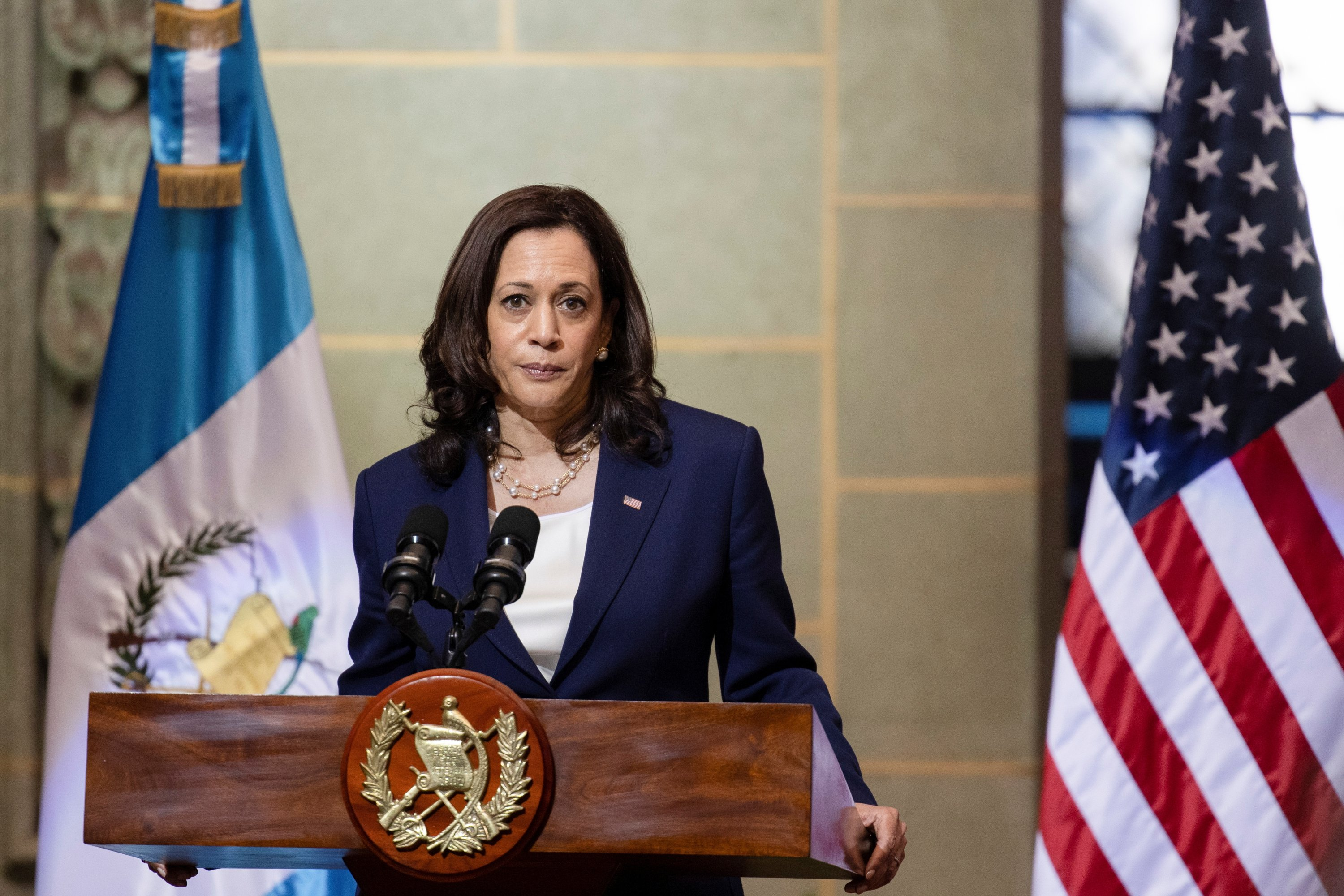U.S. Vice President Kamala Harris speaks about migrants heading to the U.S. at a news conference with Guatemalan President Alejandro Giammattei during her visit, in Guatemala City, Guatemala, June 7, 2021. (Reuters Photo)