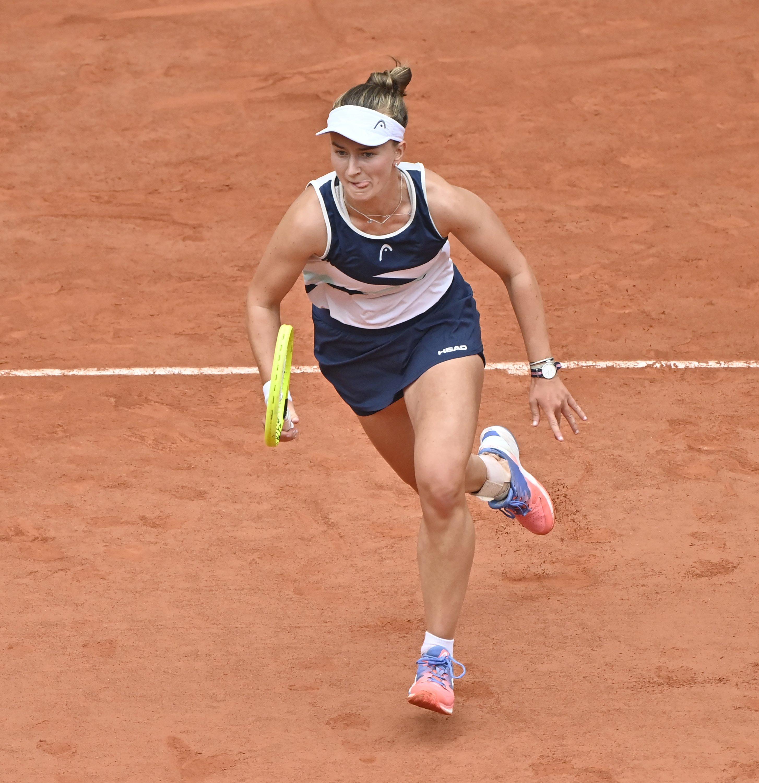 Czech Republic's Barbora Krejcikova in action against Russia's Anastasia Pavlyuchenkova during French Open final, in Paris, France, June 12, 2021. (AA Photo)