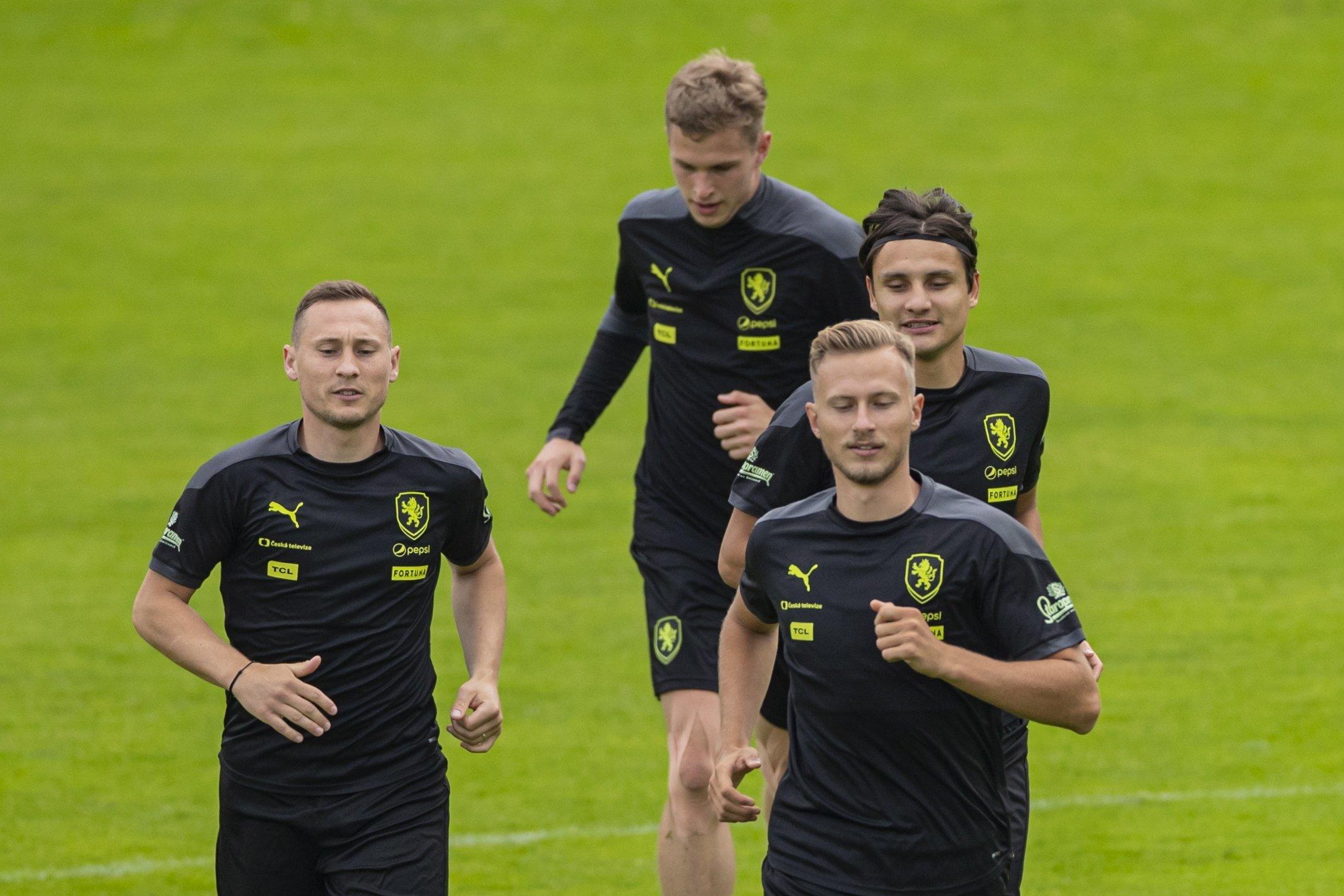 Czech Republic players attend a training session in Prague, Czech Republic, June 11, 2021. (EPA Photo)